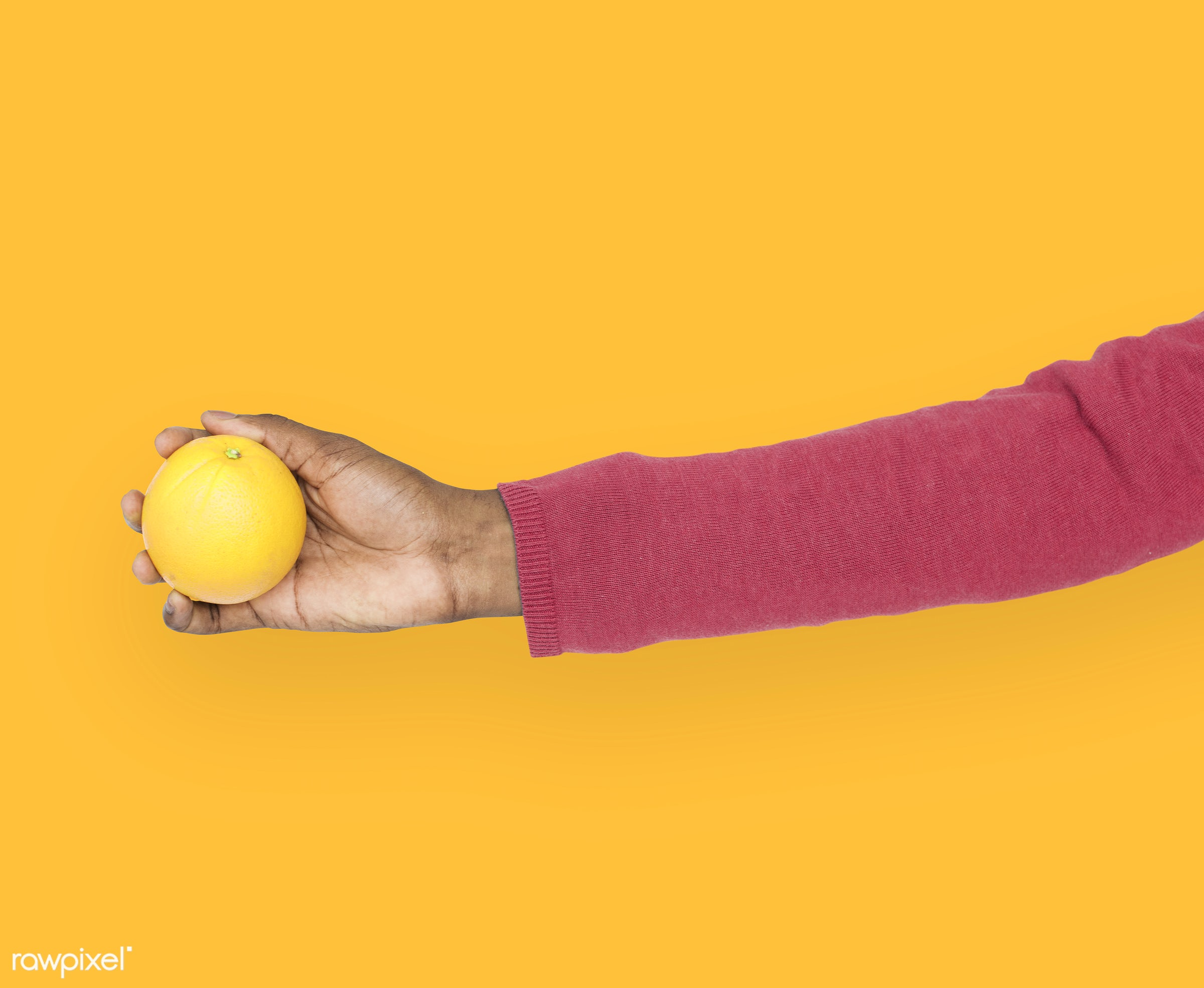 person, diet, yellow, race, hand, nature, wellness, lifestyle, showing, orange, isolated, fruit, african descent, gesture,...