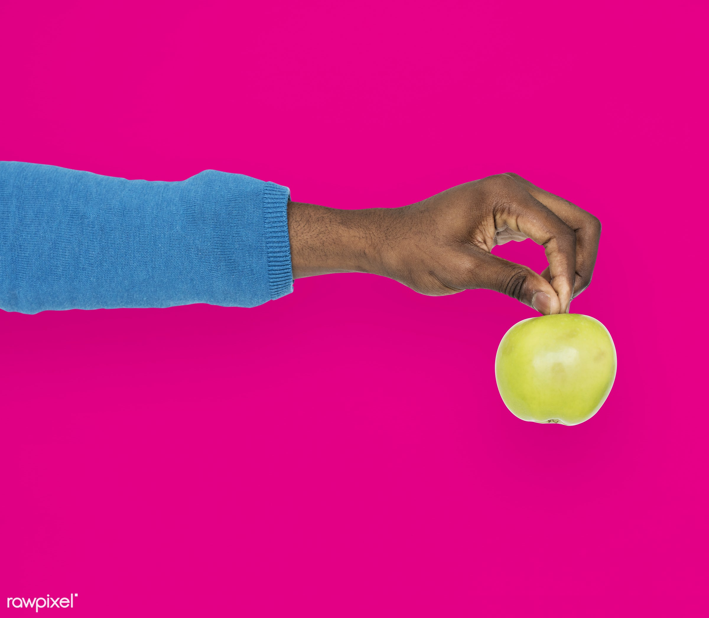 person, diet, race, hand, nature, wellness, lifestyle, showing, pink, isolated, fruit, african descent, gesture, human,...