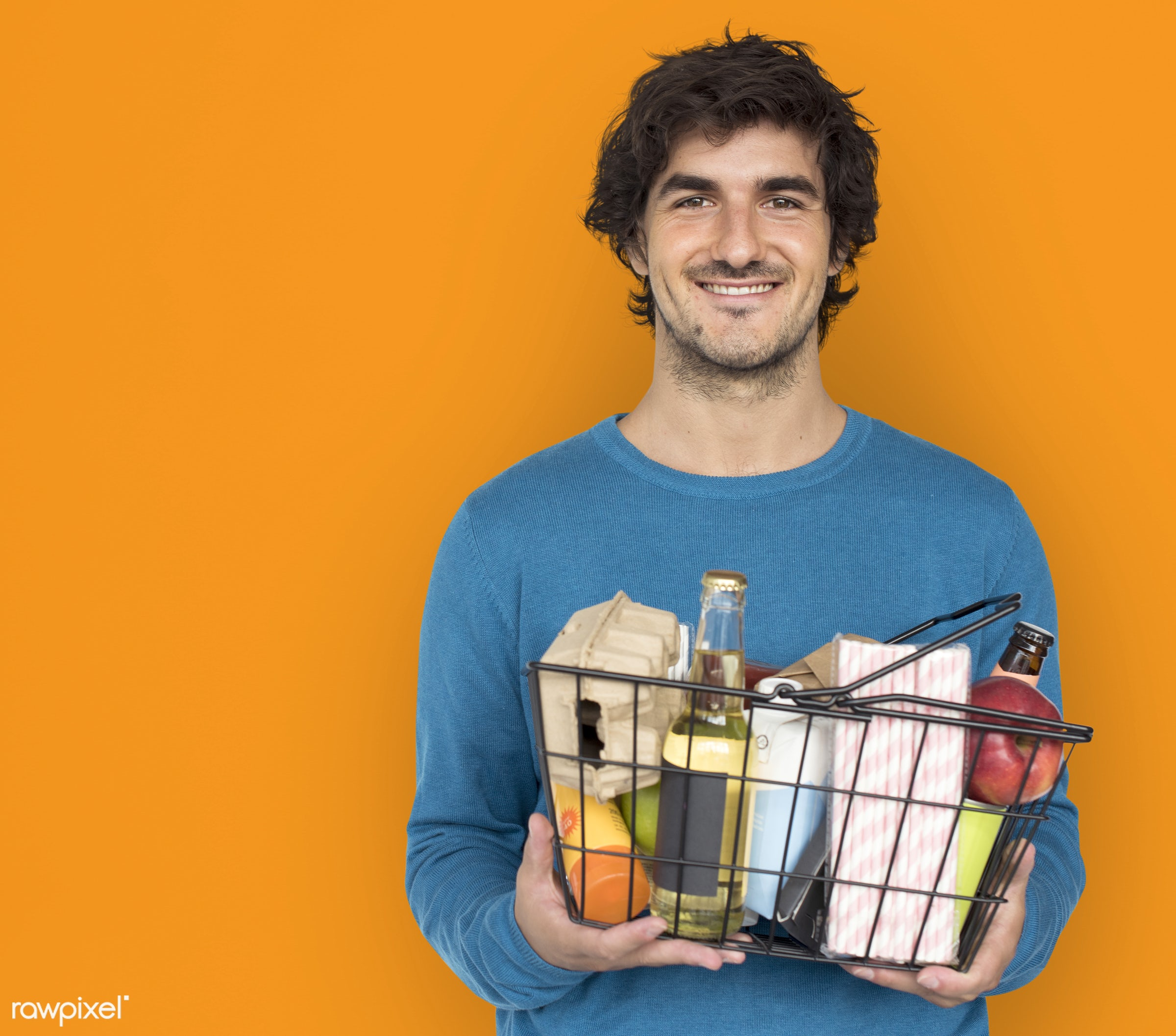 expression, grocery, studio, person, merchandise, store, holding, customer, consumer, race, people, caucasian, lifestyle,...
