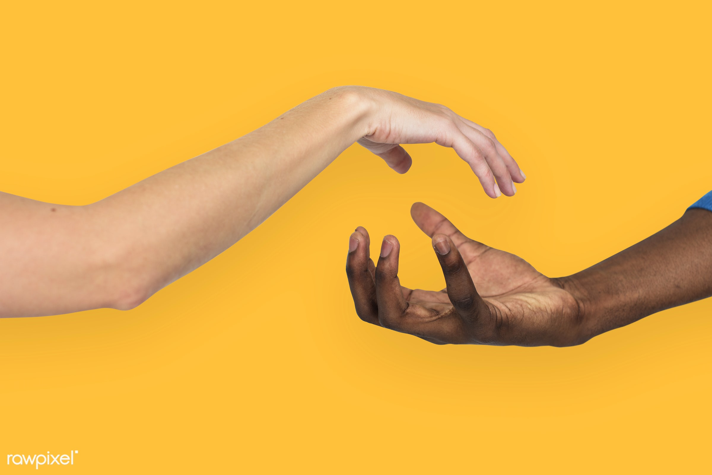 person, yellow, race, caucasian, hand, woman, integration, friendship, showing, partner, man, isolated, diversity, african...