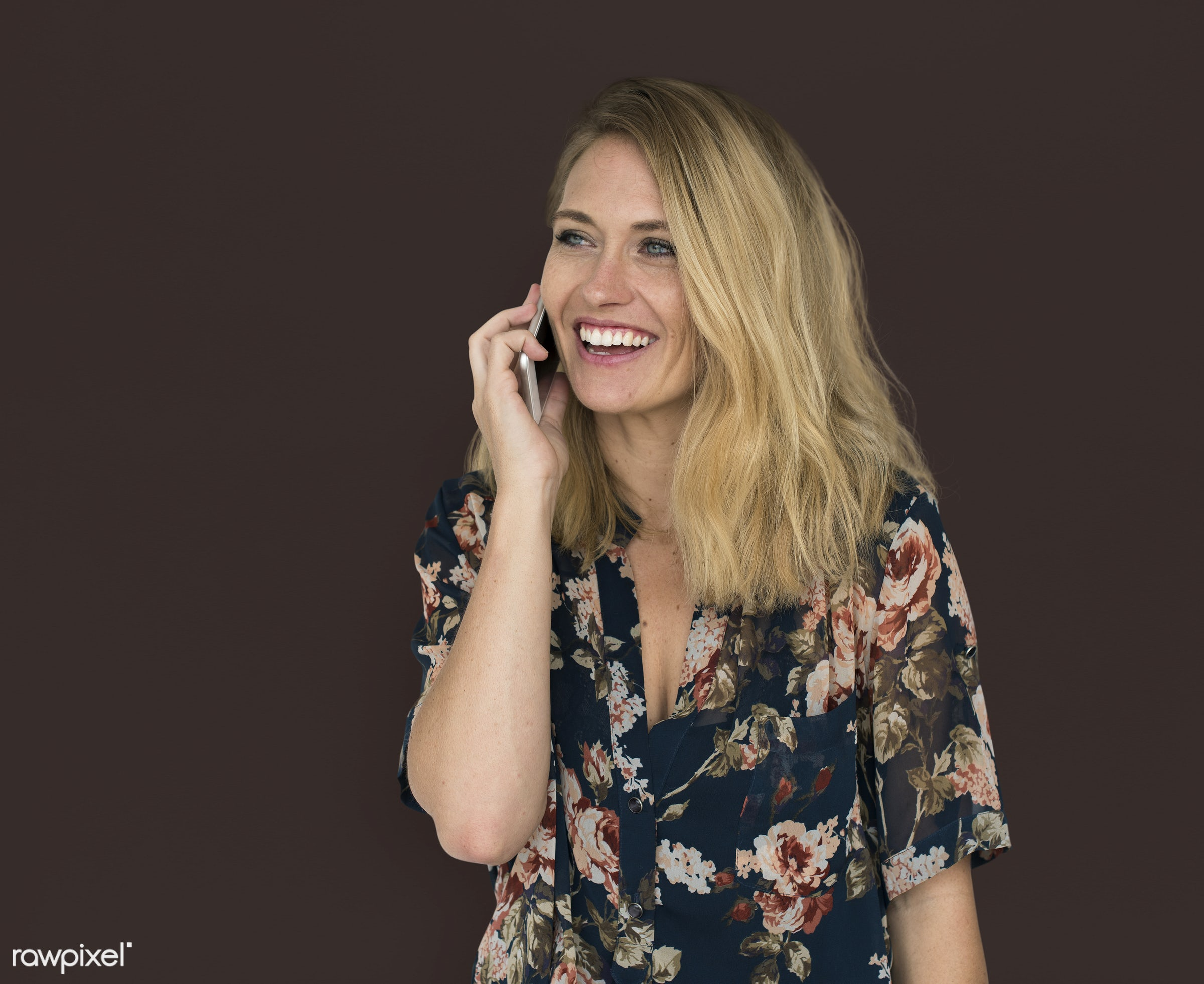 studio, expression, phone, person, technology, people, caucasian, woman, lifestyle, positive, smile, cheerful, isolated,...