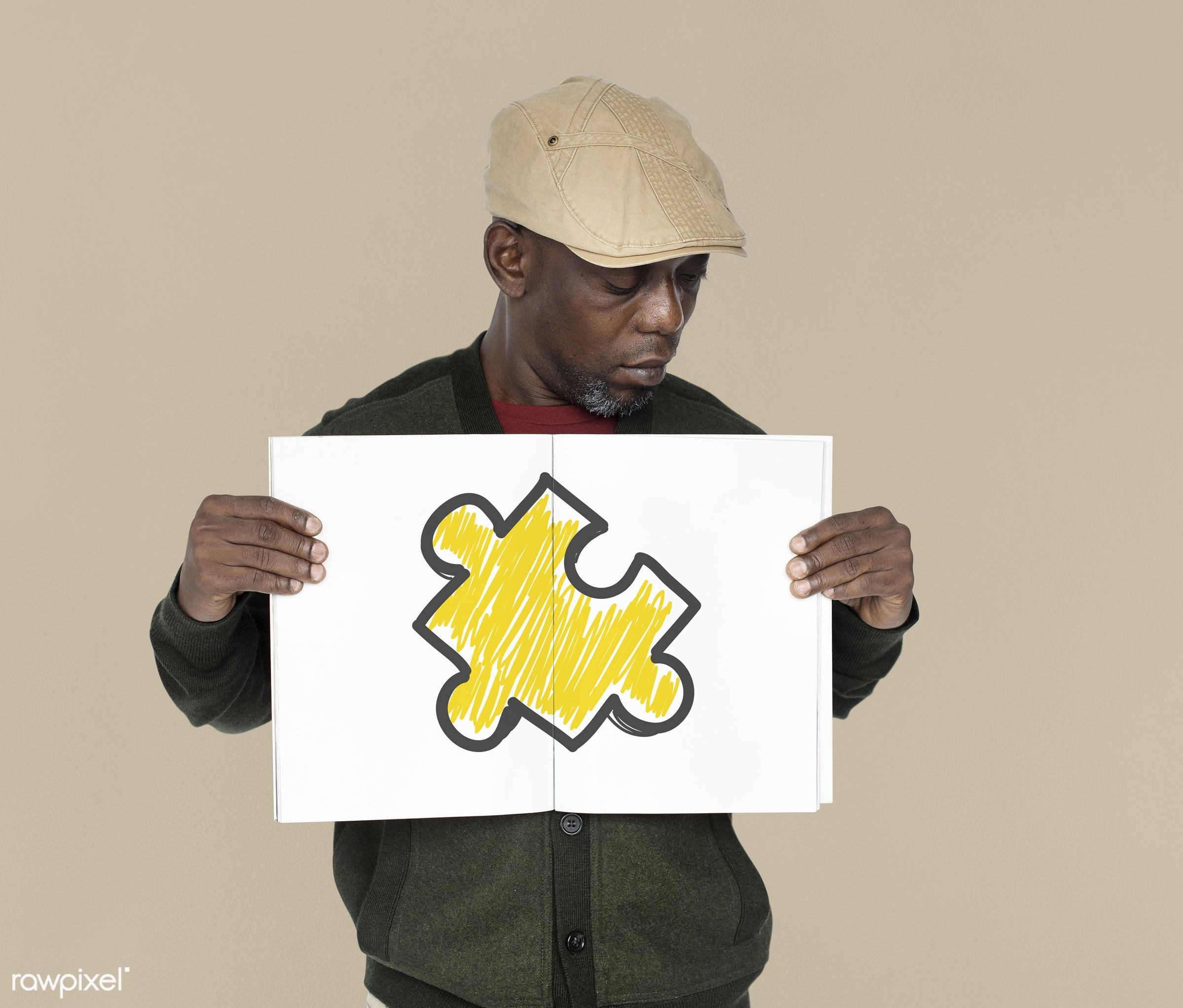 studio, expression, person, placing, emblem, jigsaw, holding, people, placard, teamwork, inspiration, empty, piece, black,...