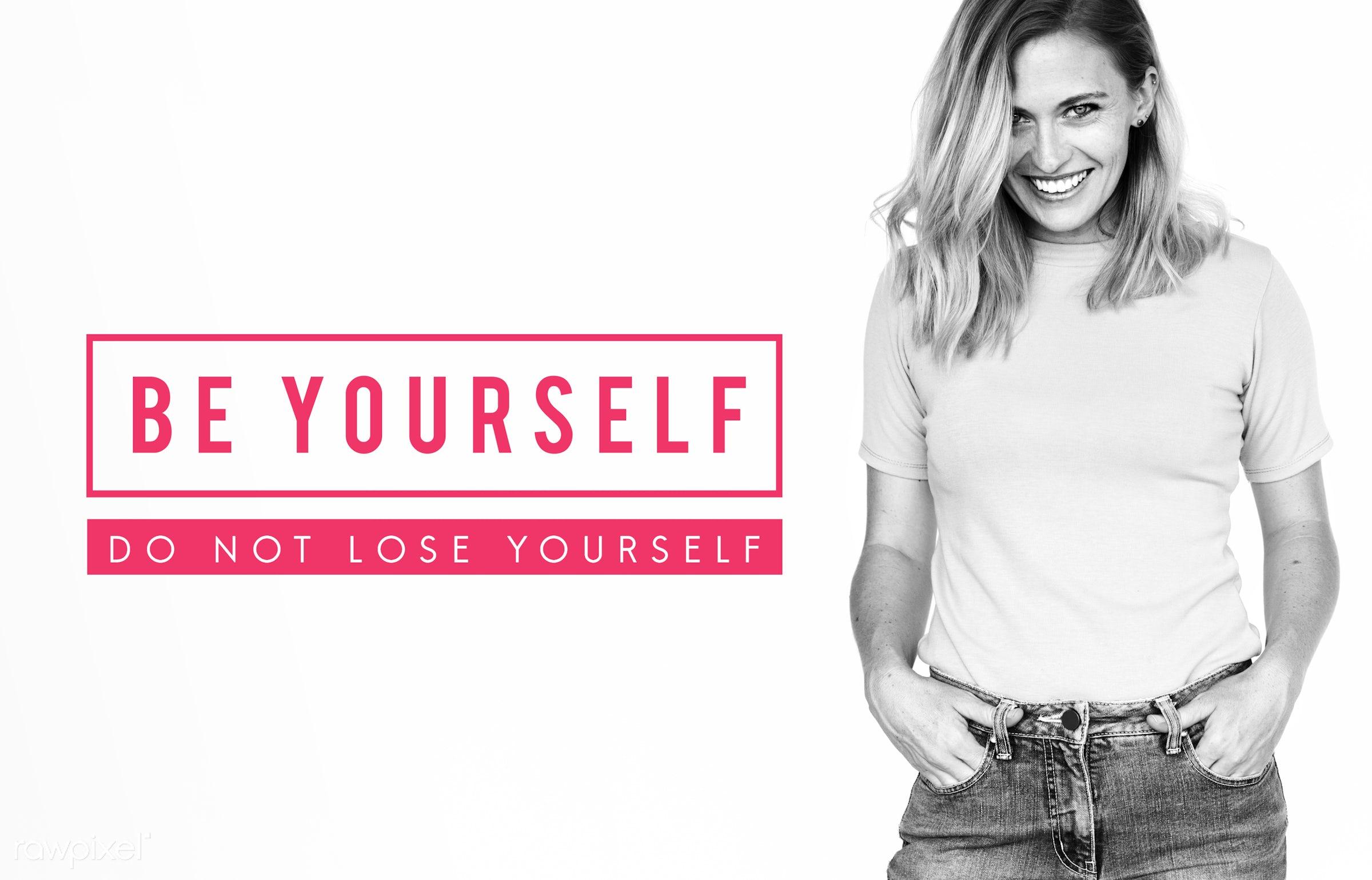 Diverse people portrait studio shoot - feminine, adult, attractive, be yourself, beautiful, belief, believe in yourself,...