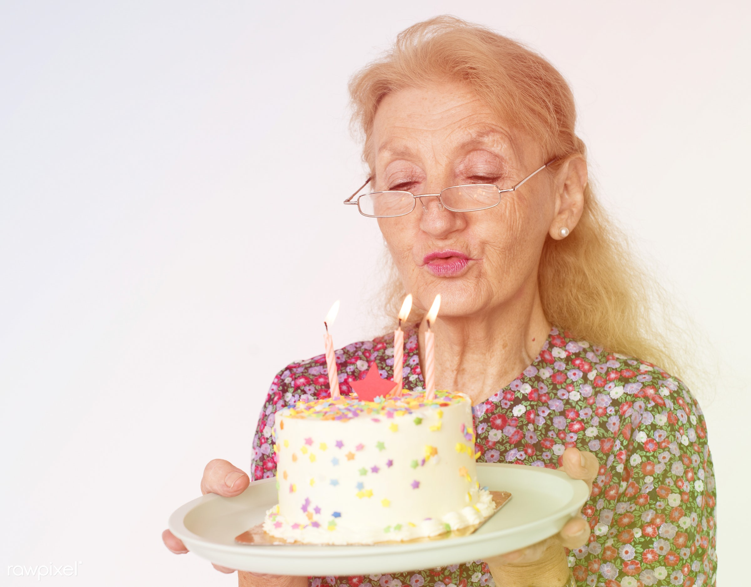 studio, expression, person, people, caucasian, woman, candles, lifestyle, smile, positive, cheerful, dessert, cake, isolated...