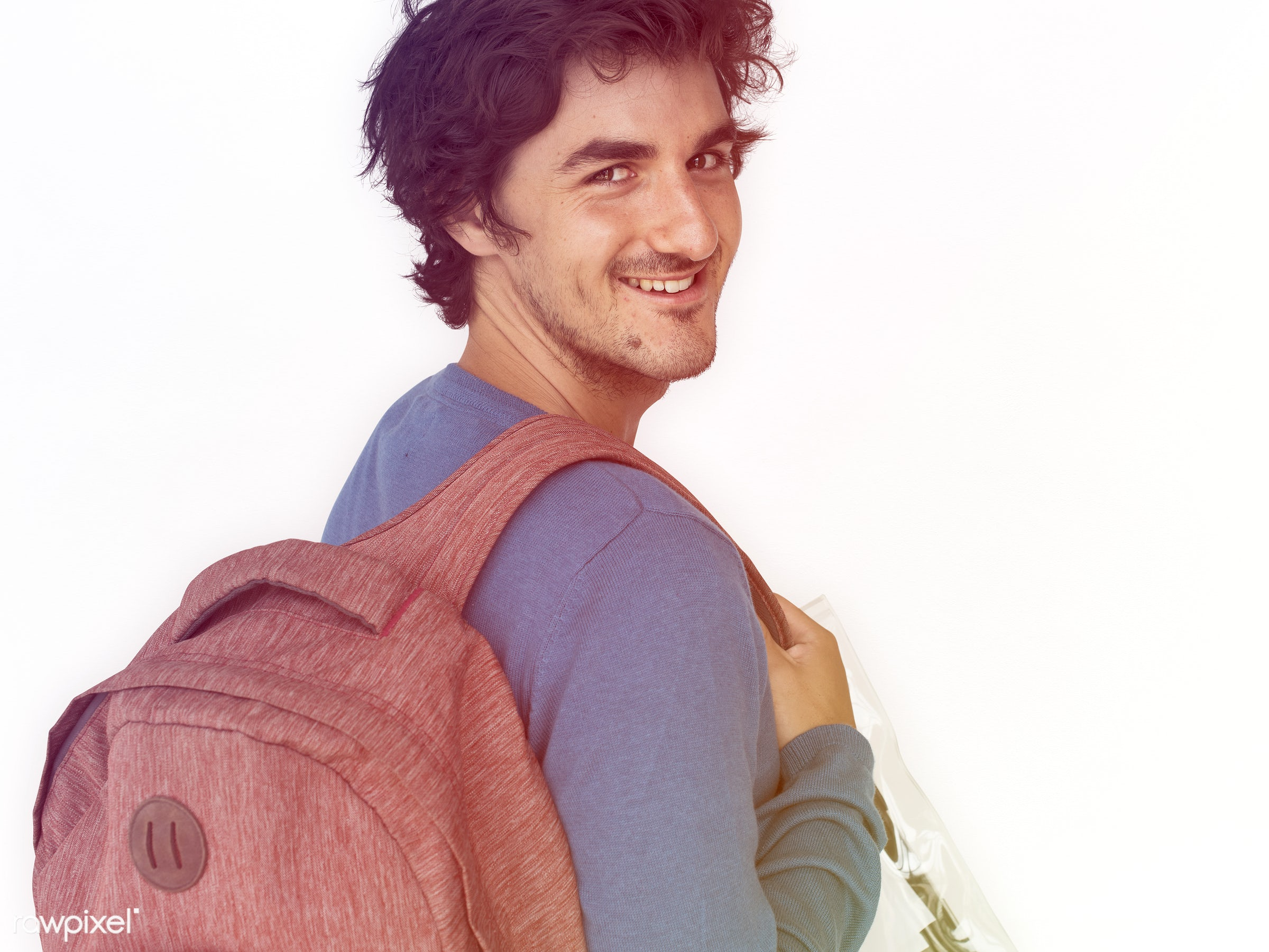 studio, expression, pastel, person, people, caucasian, lifestyle, schoolbag, smile, positive, cheerful, isolated, bag,...