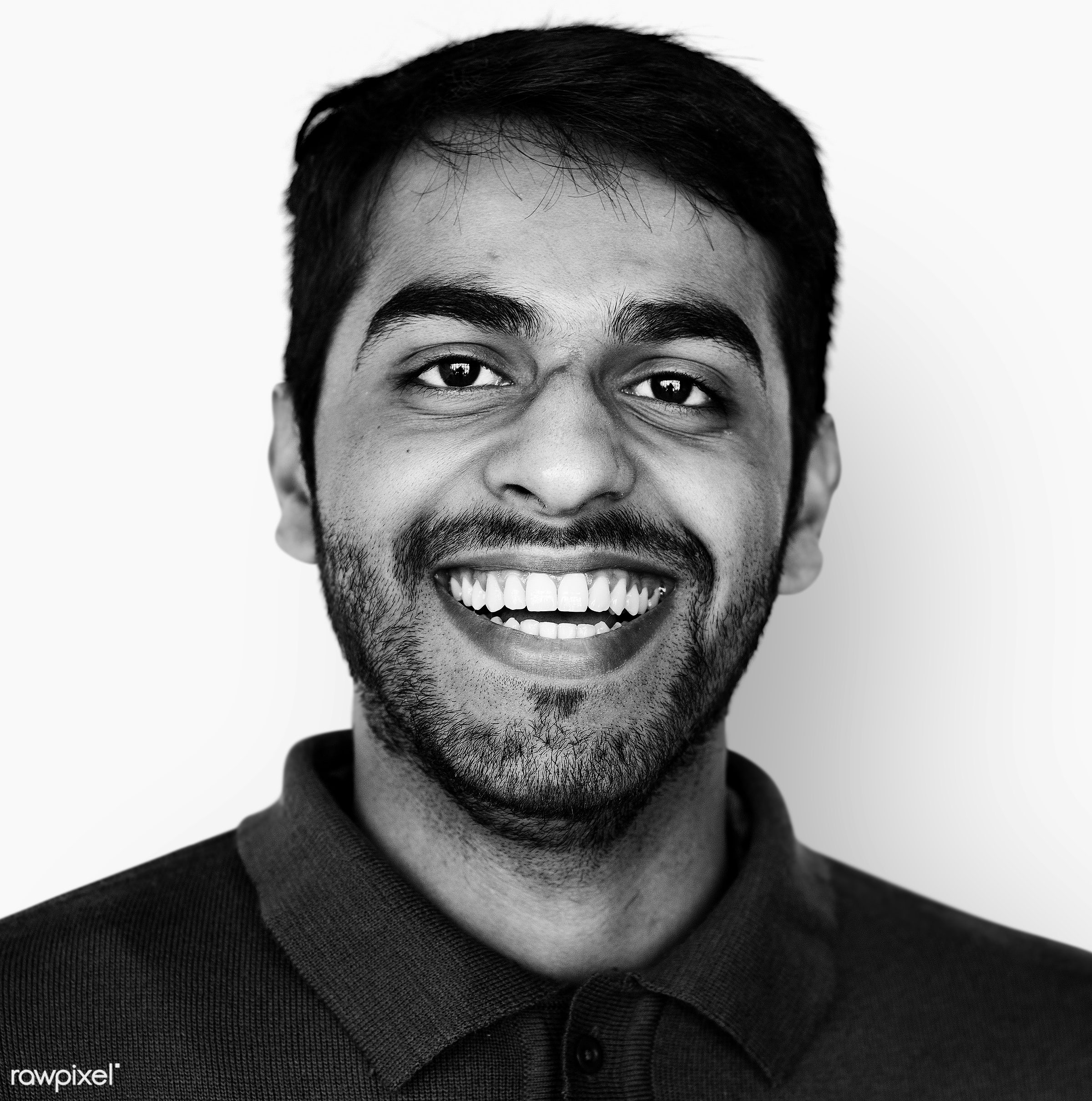 Portrait of a Pakistani man - asian, attractive, black and white, cheerful, expression, face, grayscale, happy, joyful,...