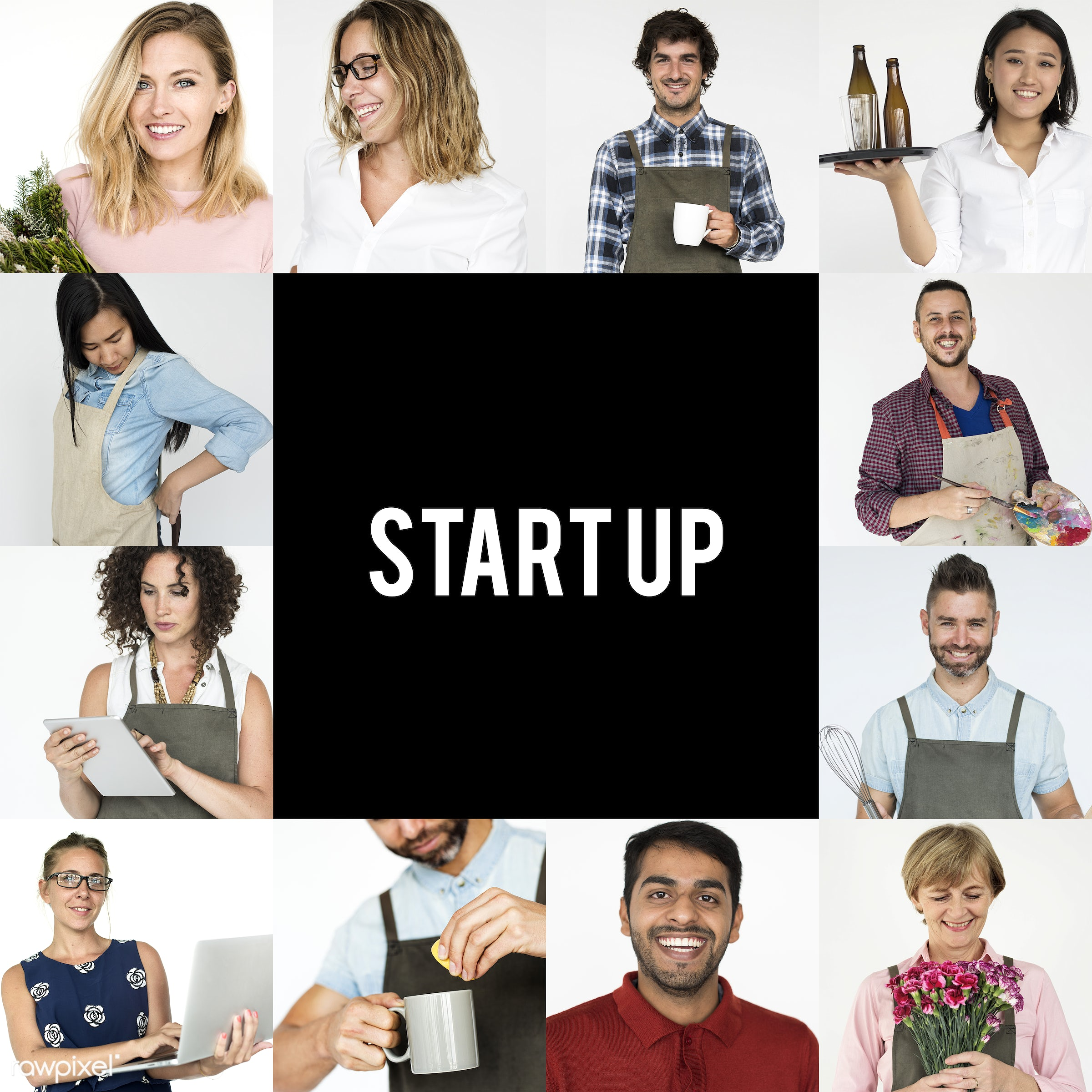 Set of portraits of people with startup concepts - expression, studio, person, people, young adult, woman, lifestyle,...