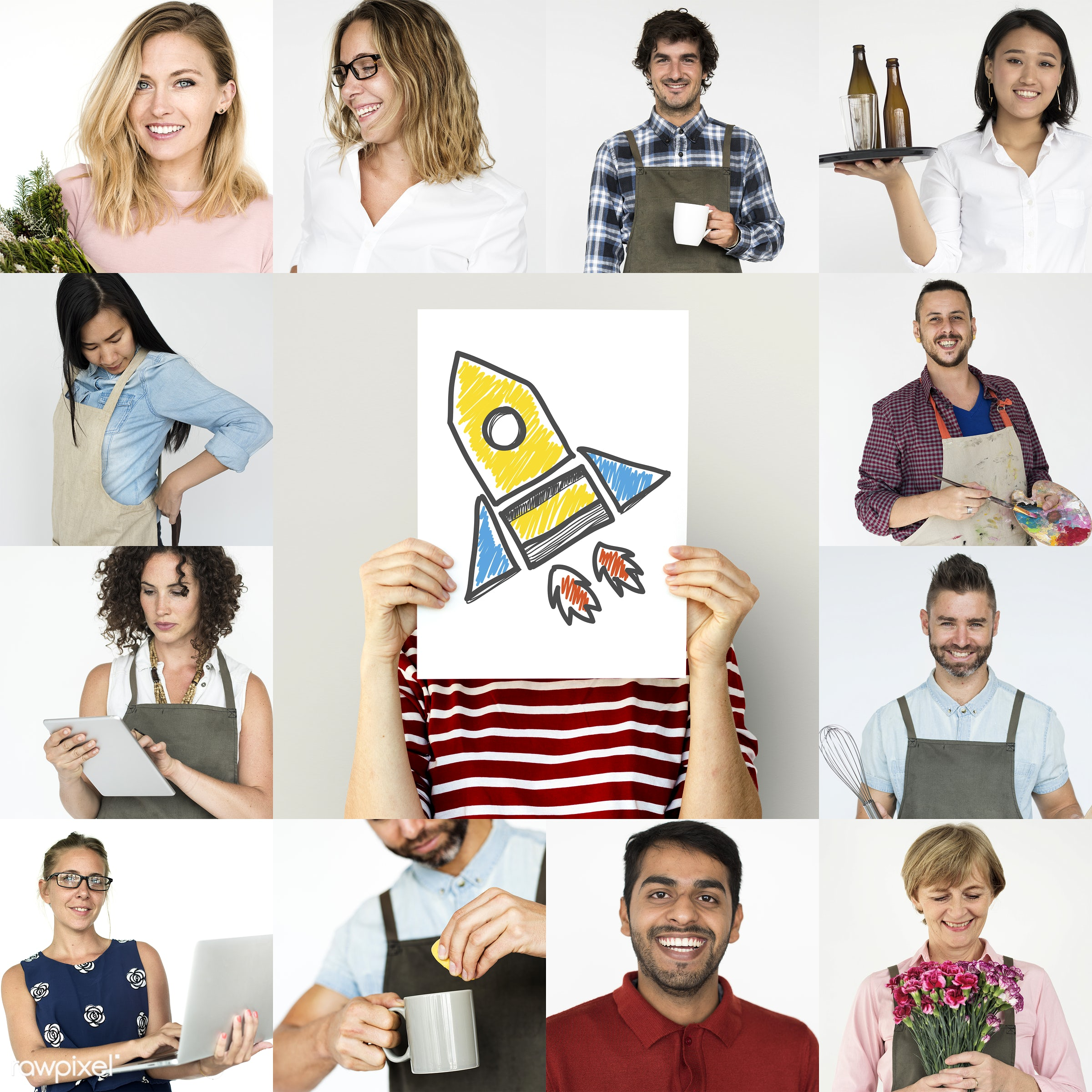 Set of portraits of people with startup concepts - expression, studio, person, people, young adult, rocket, woman, lifestyle...