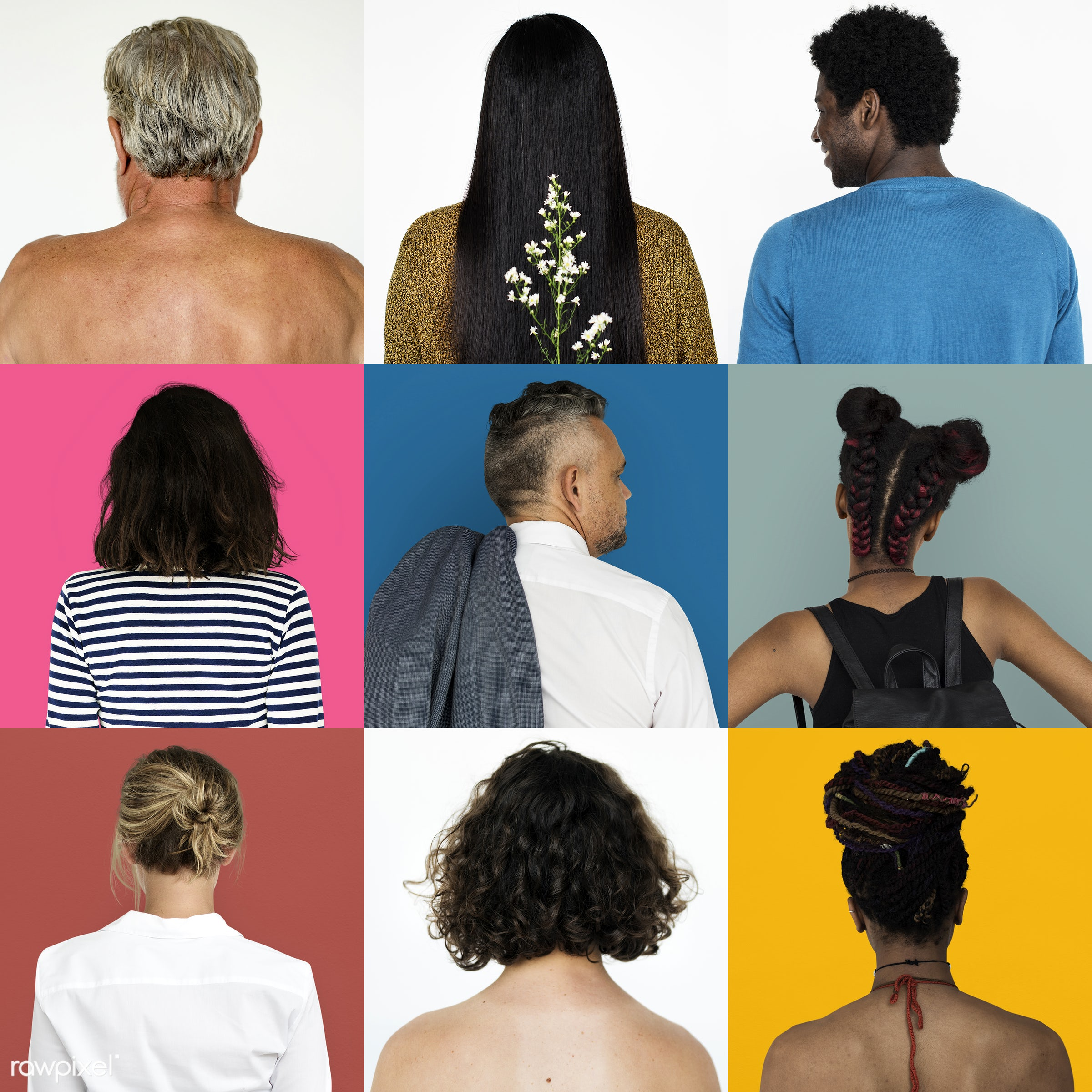 different, studio, diverse, variation, collages, people, race, style, casual, gender, isolated, diversity, ethnic, society,...