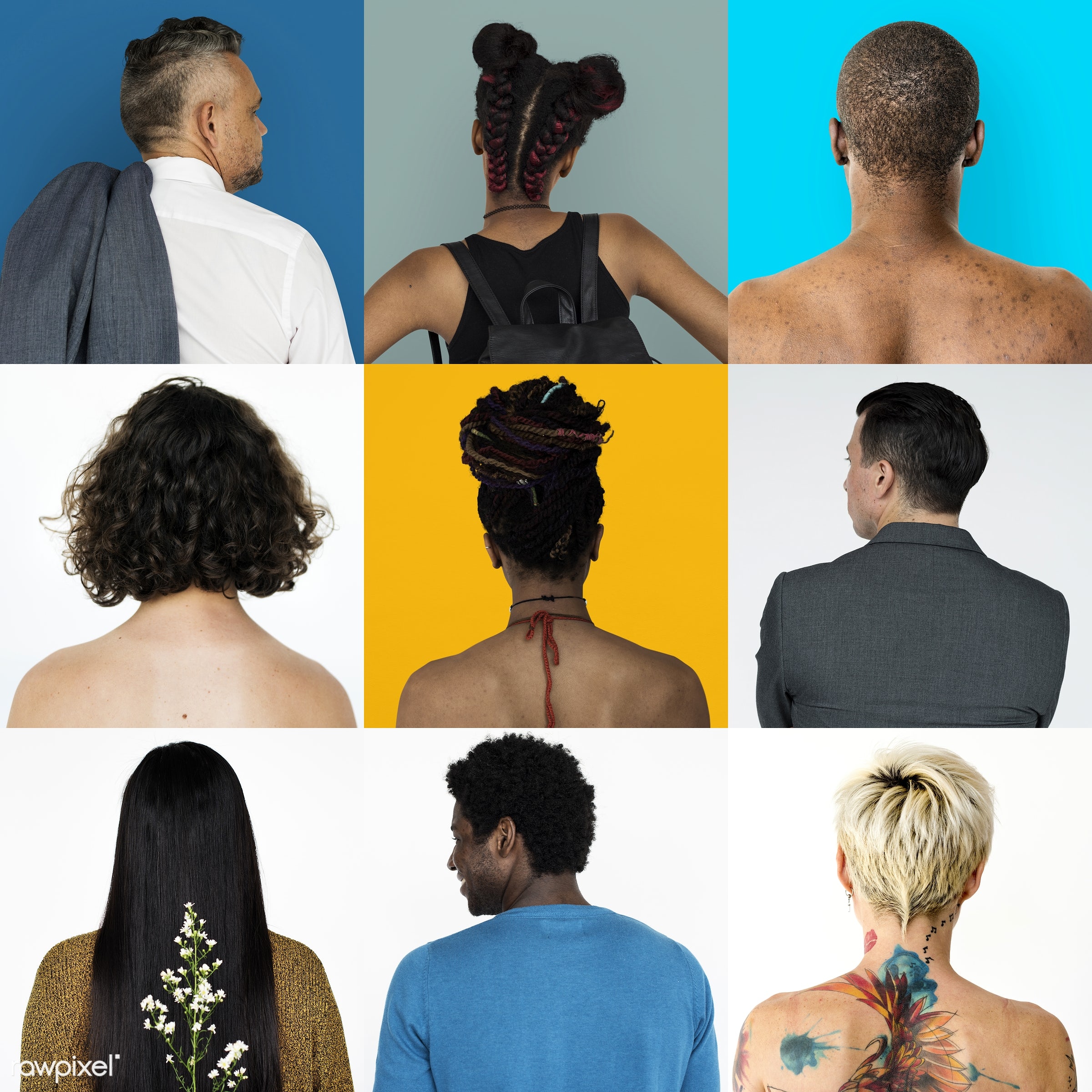 different, studio, diverse, variation, collages, people, race, style, casual, gender, tattoo, isolated, diversity, ethnic,...