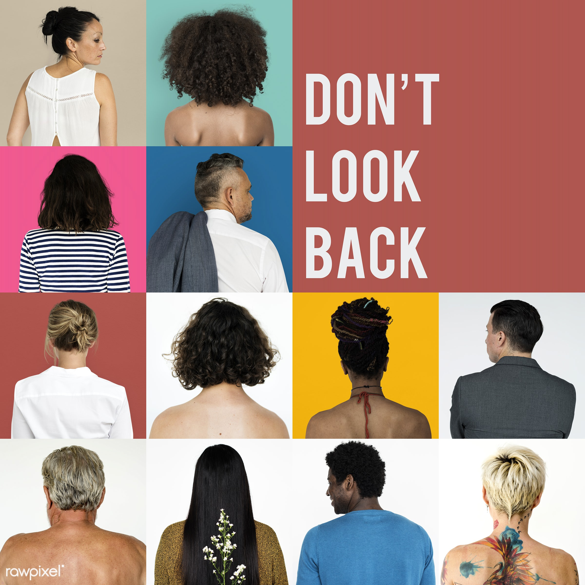 Set of portraits of backs - studio, diverse, set, backside, collection, people, caucasian, style, woman, collage, mixed, men...