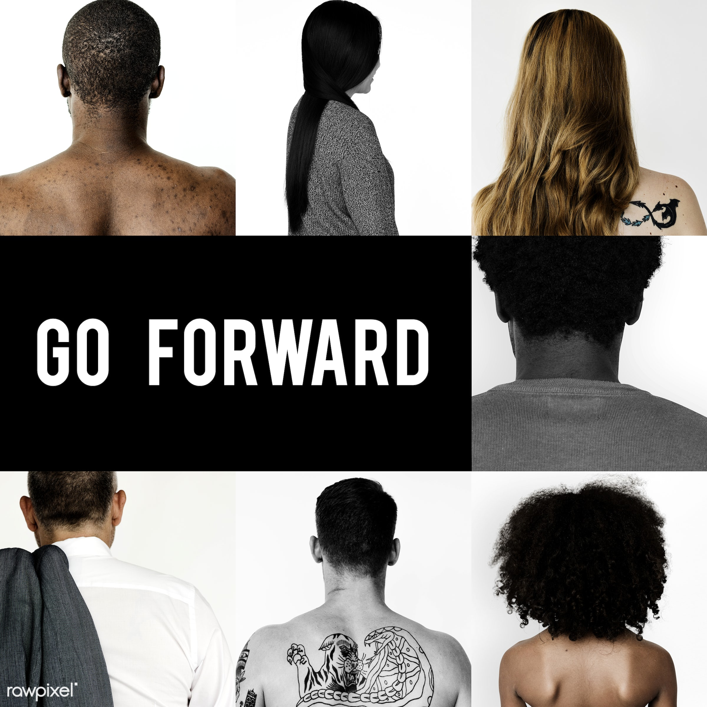 Set of portraits of backs - studio, person, motivation, people, positivity, caucasian, asian, kid, young adult, forward,...