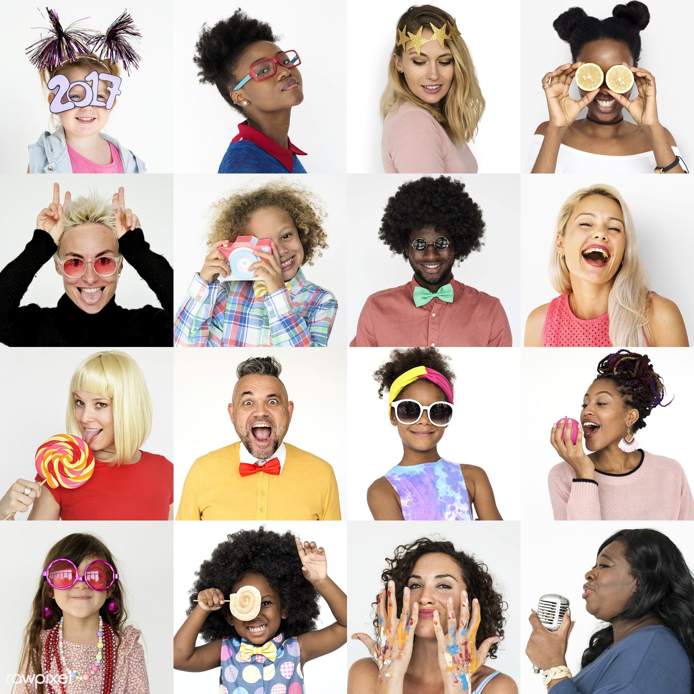 Set of portraits of funky looking people - studio, expression, person, freedom, people, young adult, lifestyle, positive,...