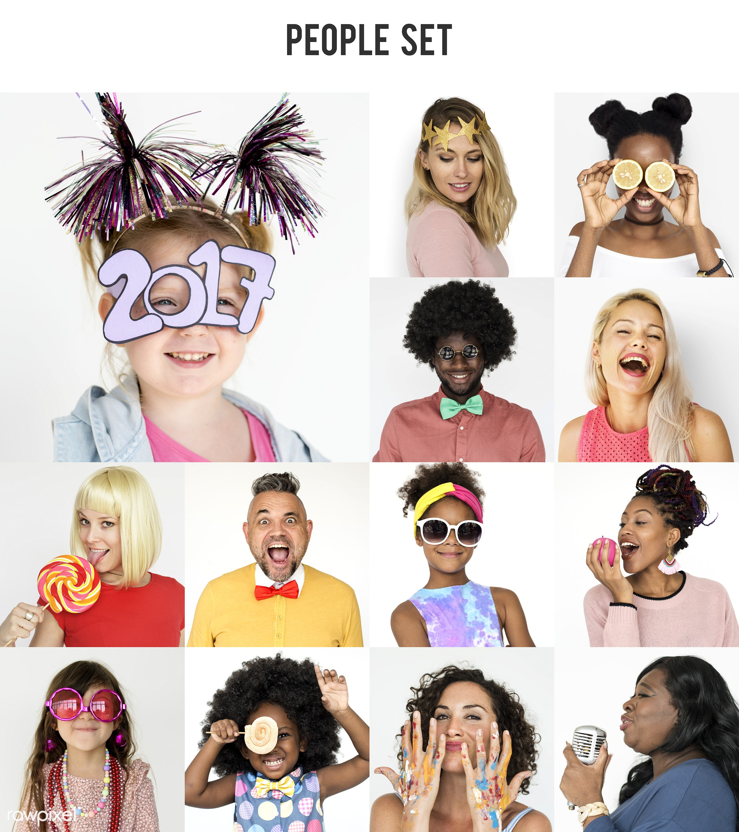 Set of portraits with celebration and happiness concepts - studio, diverse, relax, party, people, positivity, woman,...