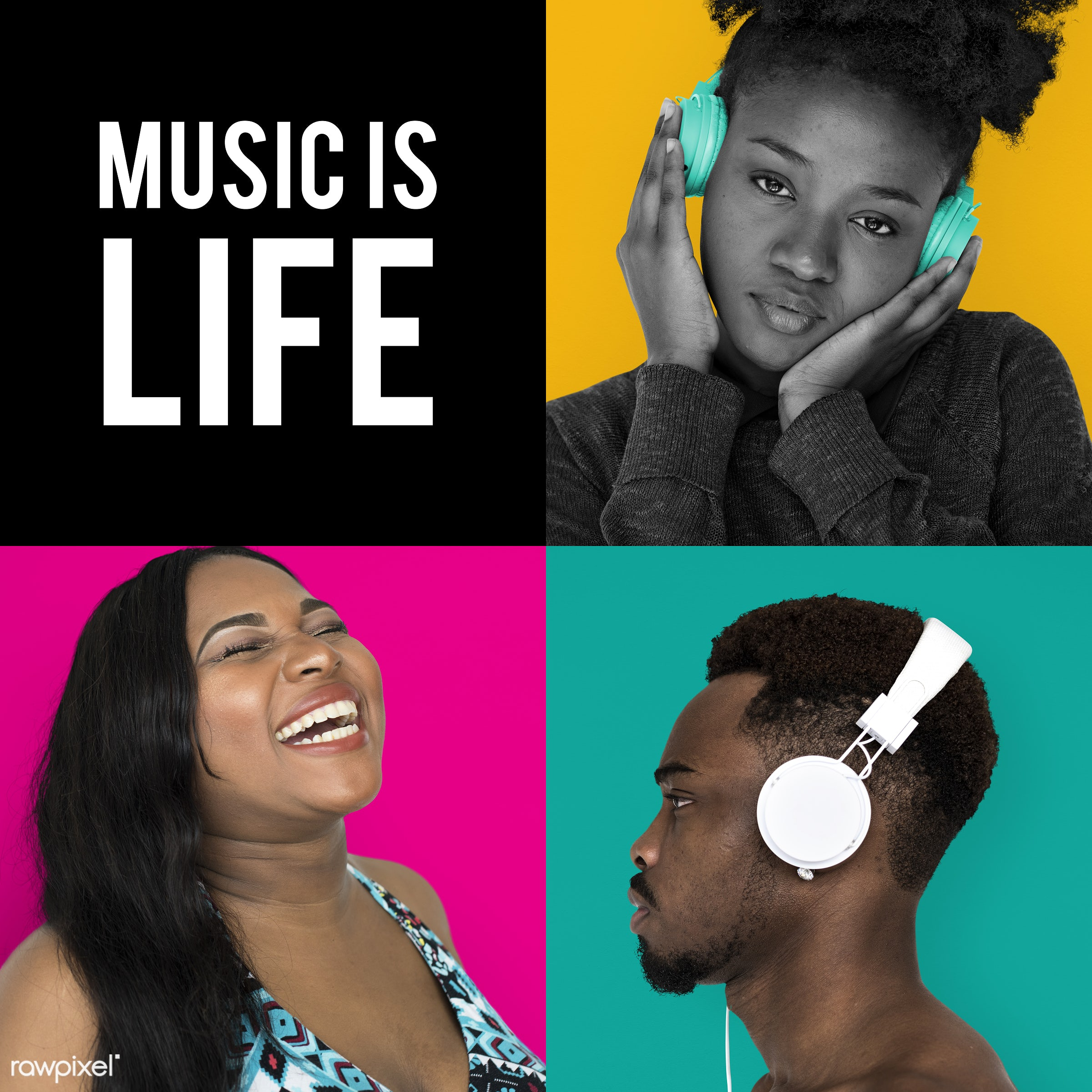 Set of portraits with music concepts - studio, person, voice, relax, set, entertain, recreation, people, headphone, life,...