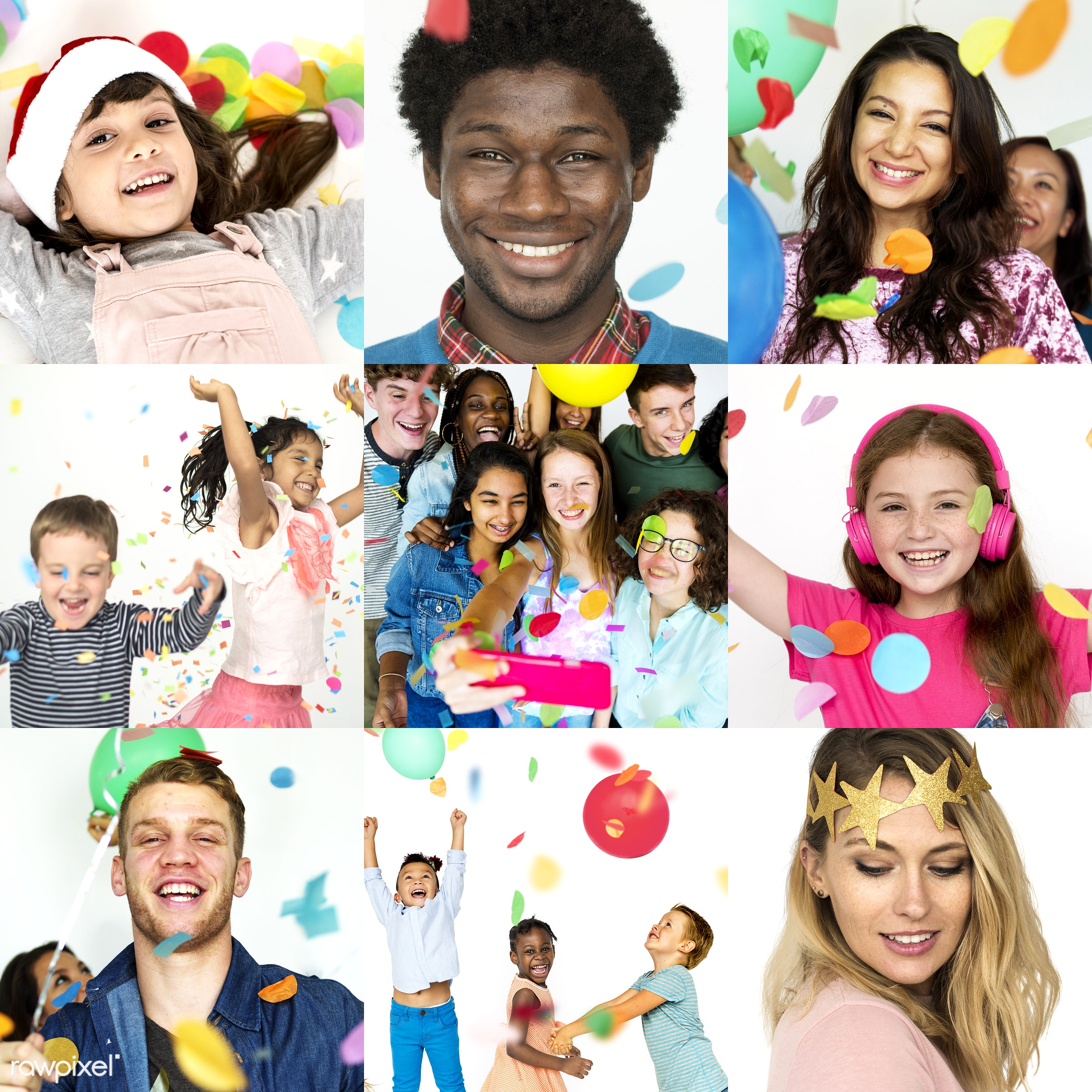 diverse, party, people, caucasian, asian, event, woman, lifestyle, gathering, cheerful, smiling, confetti, african descent,...