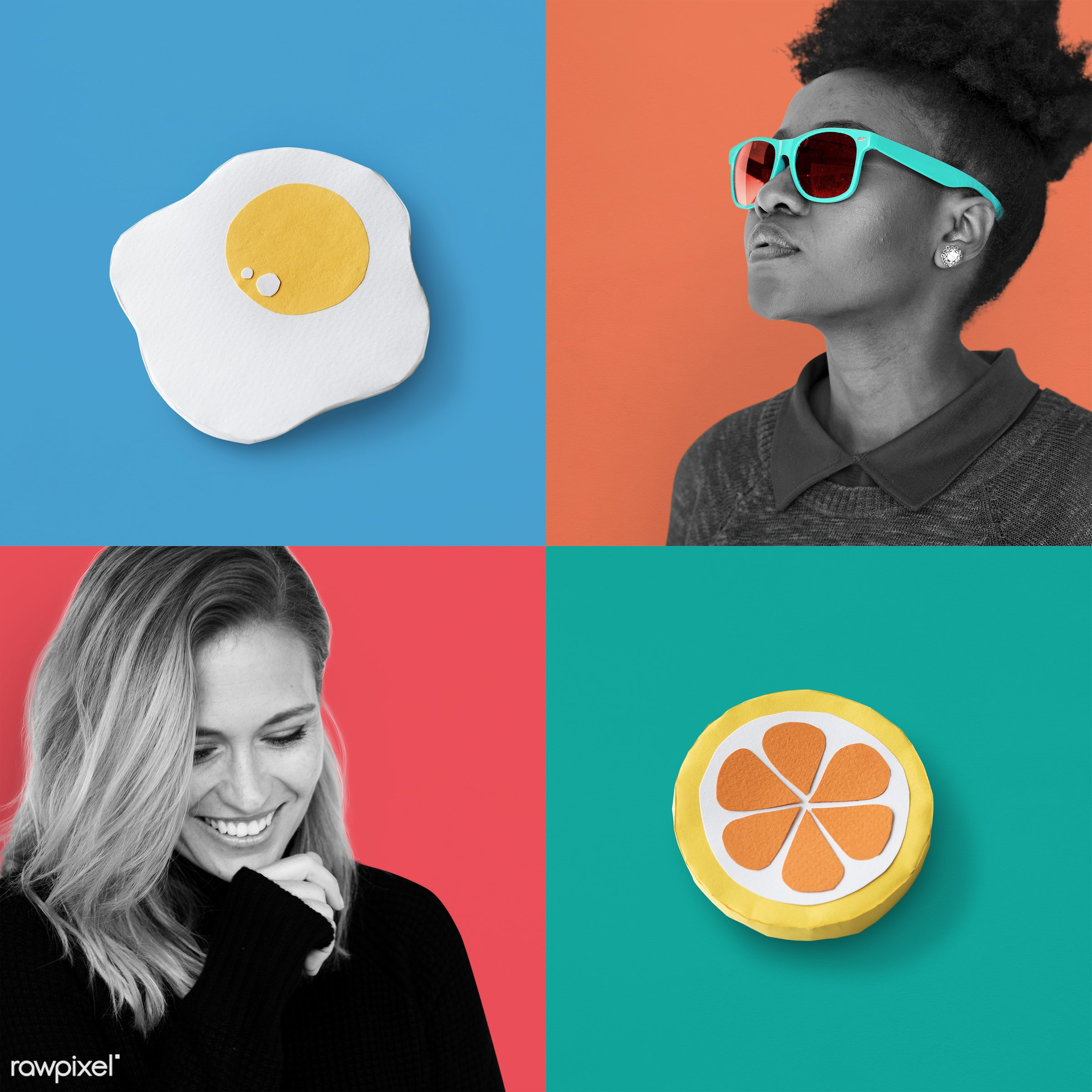 Set of pop colors - studio, expression, face, person, freedom, set, joy, people, life, young adult, style, attractive,...