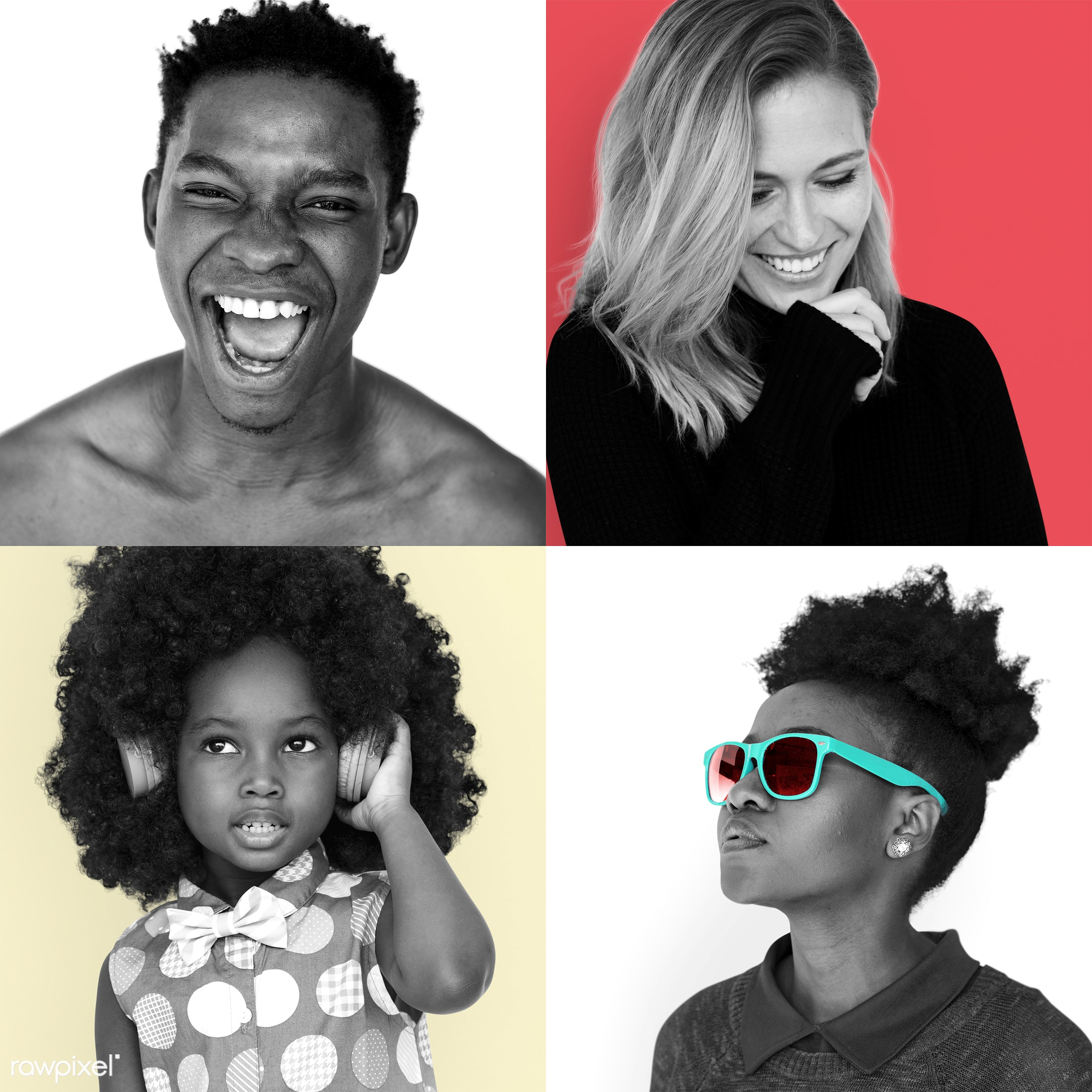 Portraits of diverse people - collage, adult, attractive, candid, casual, cheerful, chill, confidence, confident, diverse,...