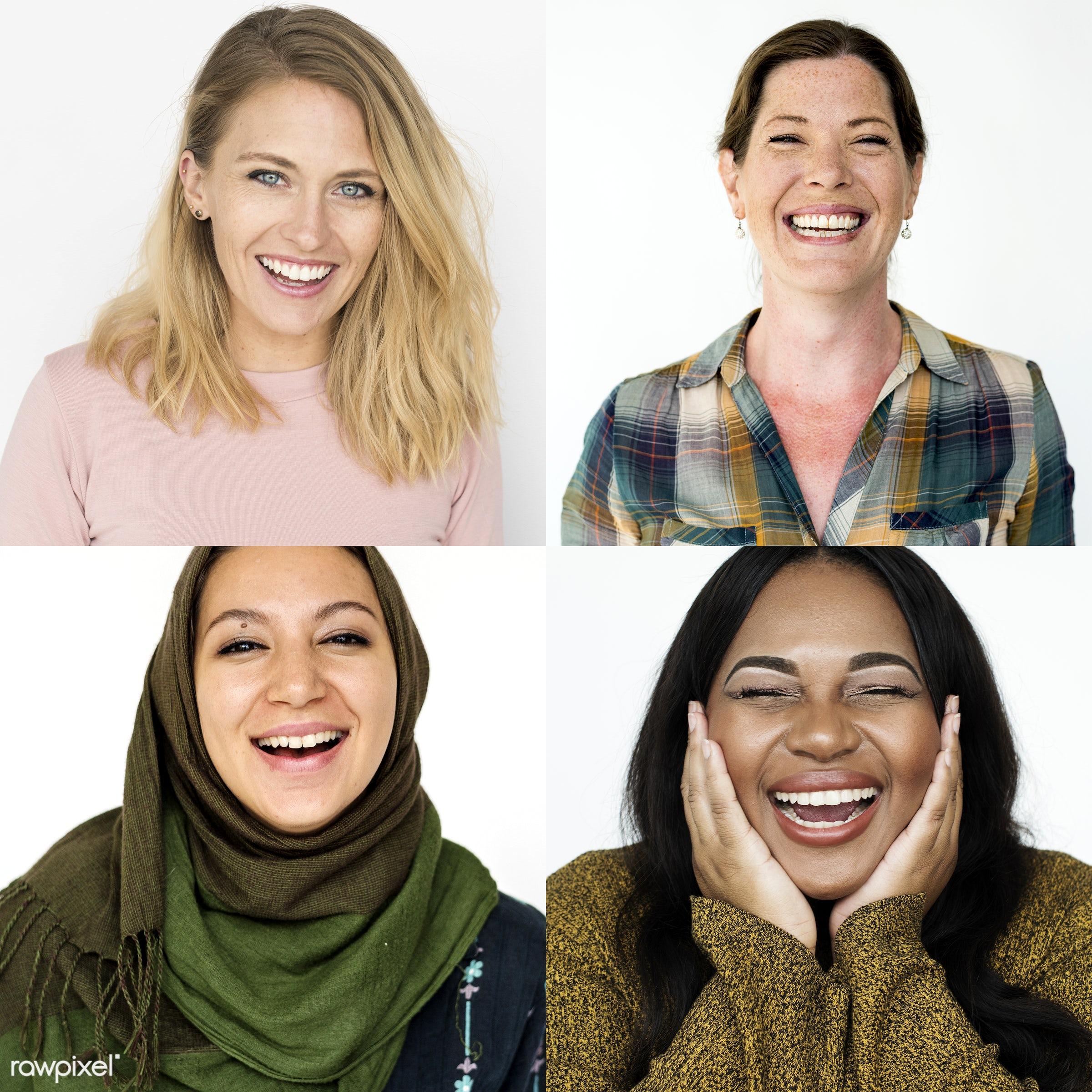 muslim, studio, bright, set, variation, collection, optimistic, people, positivity, caucasian, face expression, woman,...