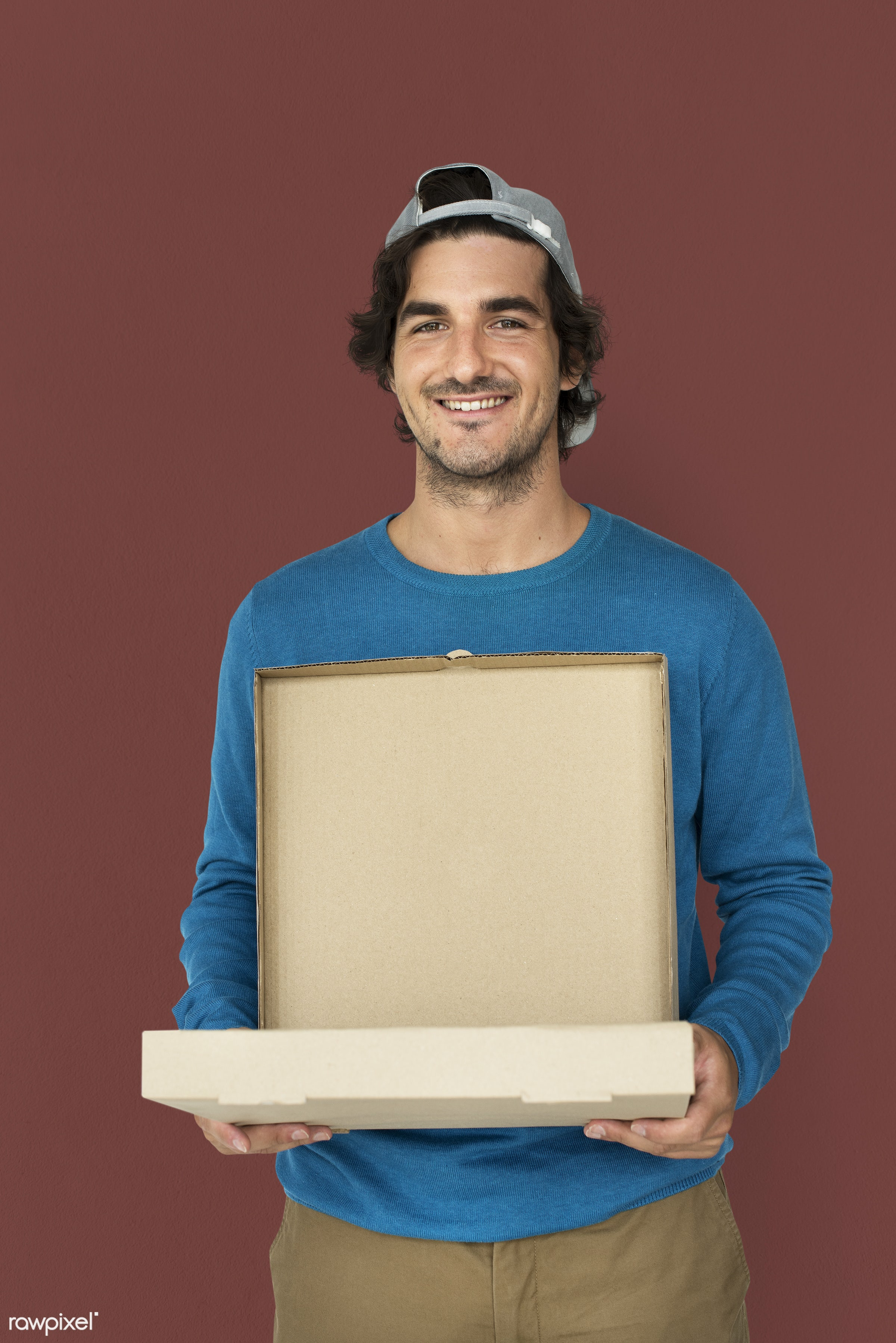 adult, background, box, brown, carrying, casual, cheerful, delivering, delivery, emotion, emotional, enjoyment, expression,...