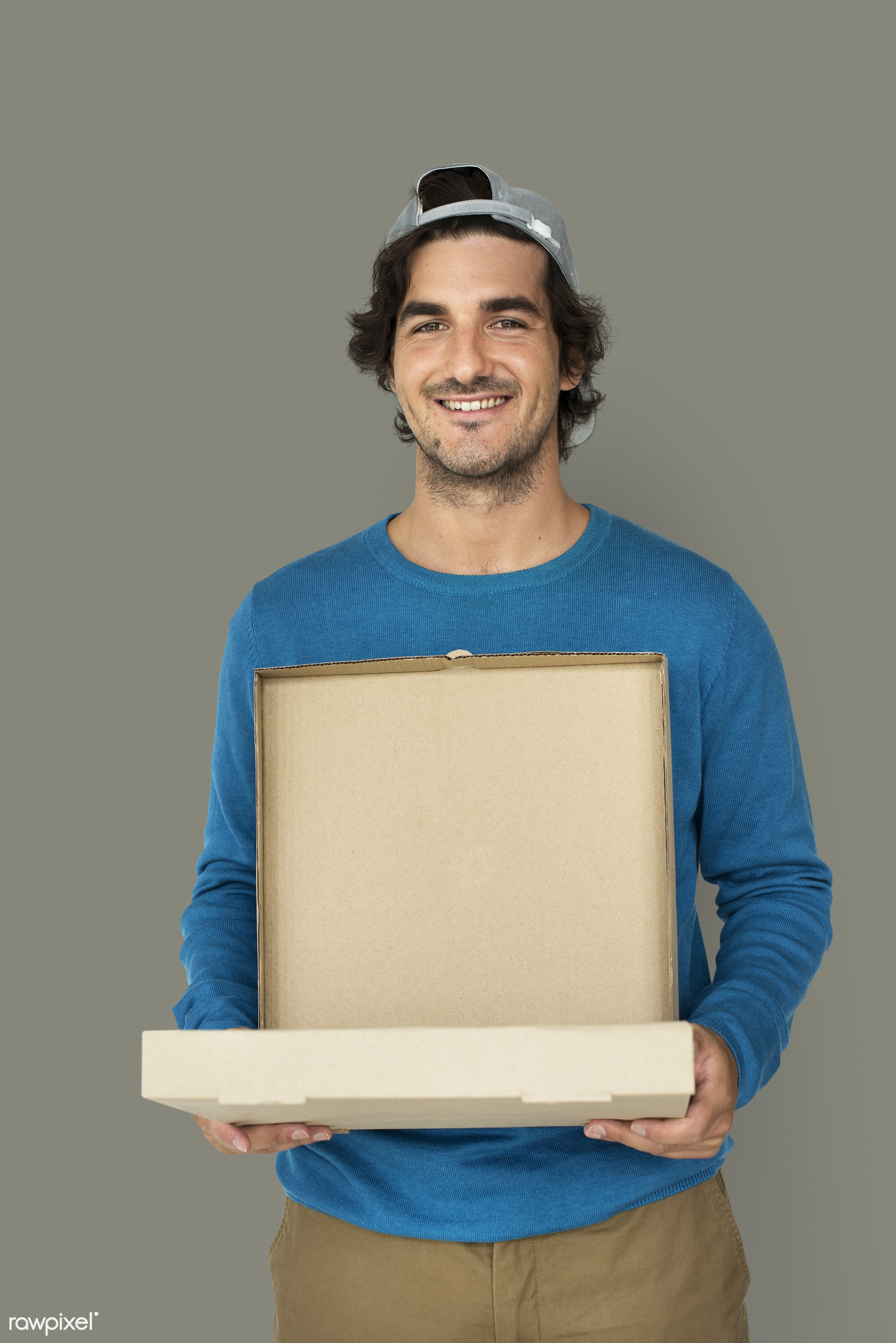 studio, expression, person, holding, food delivery, package, people, solo, ordering, smile, cheerful, smiling, pizza boy,...