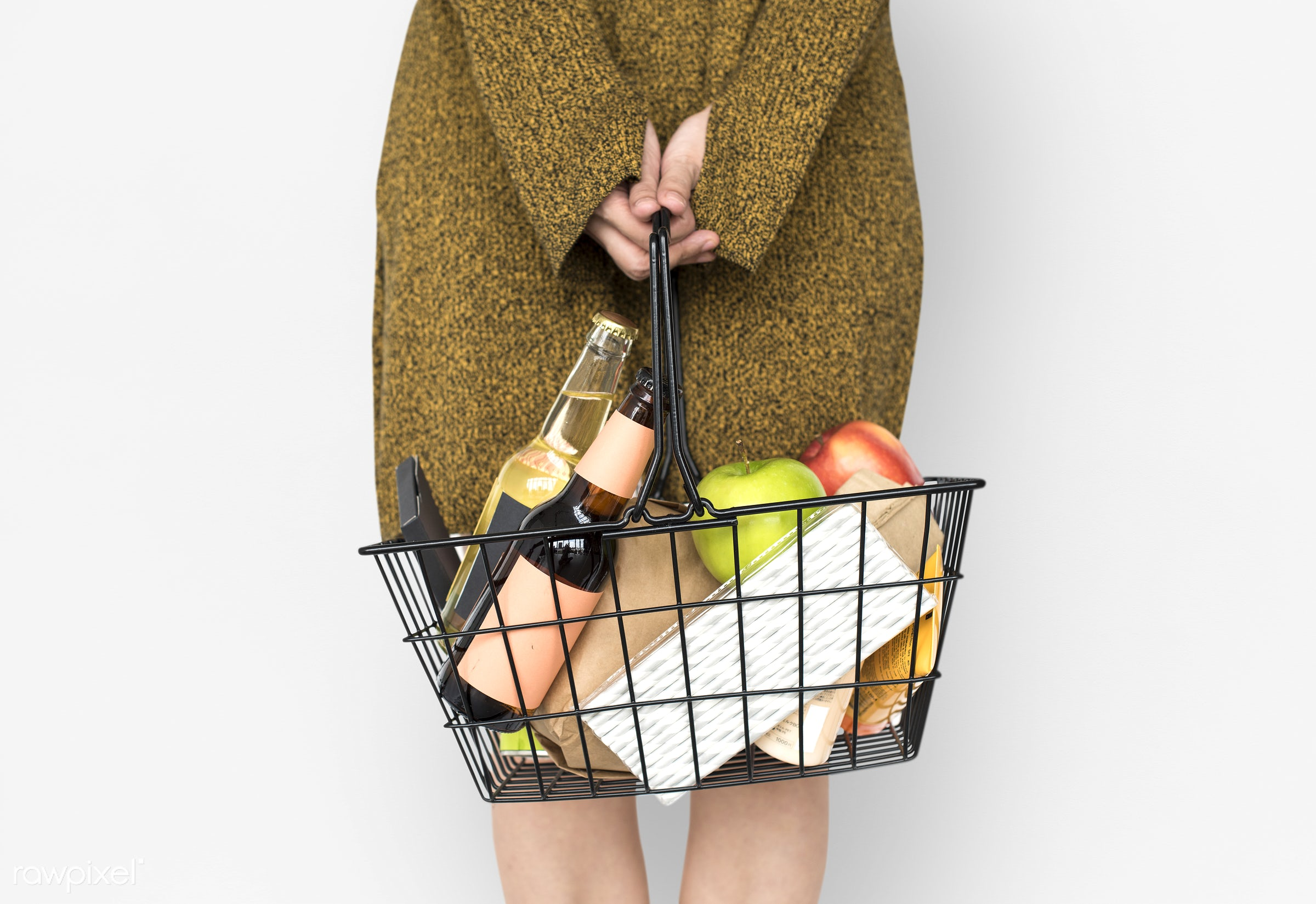 studio, grocery, person, isolated on white, goods, people, drinks, girl, carrying, solo, woman, casual, wine, isolated,...
