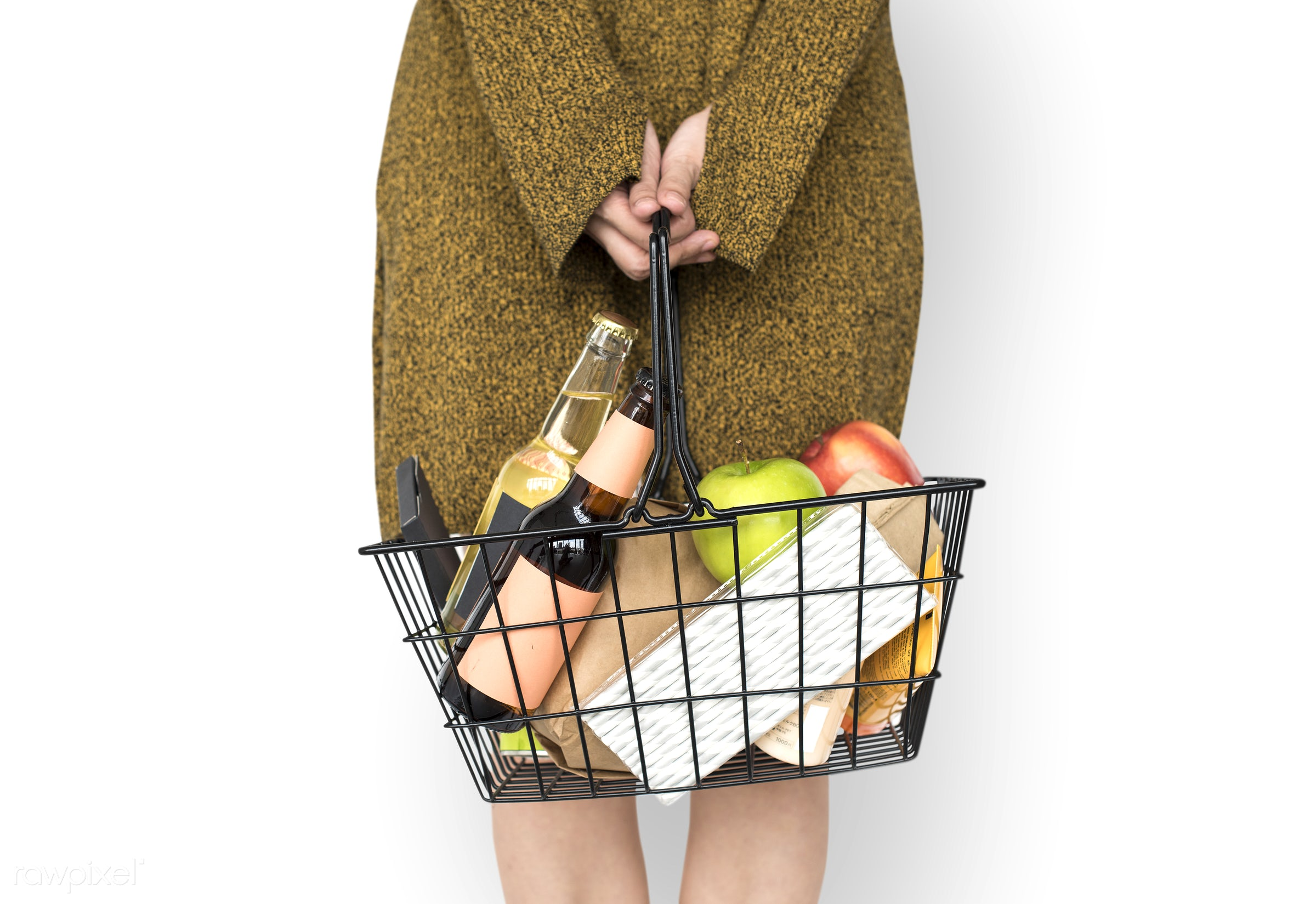 grocery, studio, person, isolated on white, goods, people, drinks, girl, carrying, solo, woman, casual, wine, isolated,...