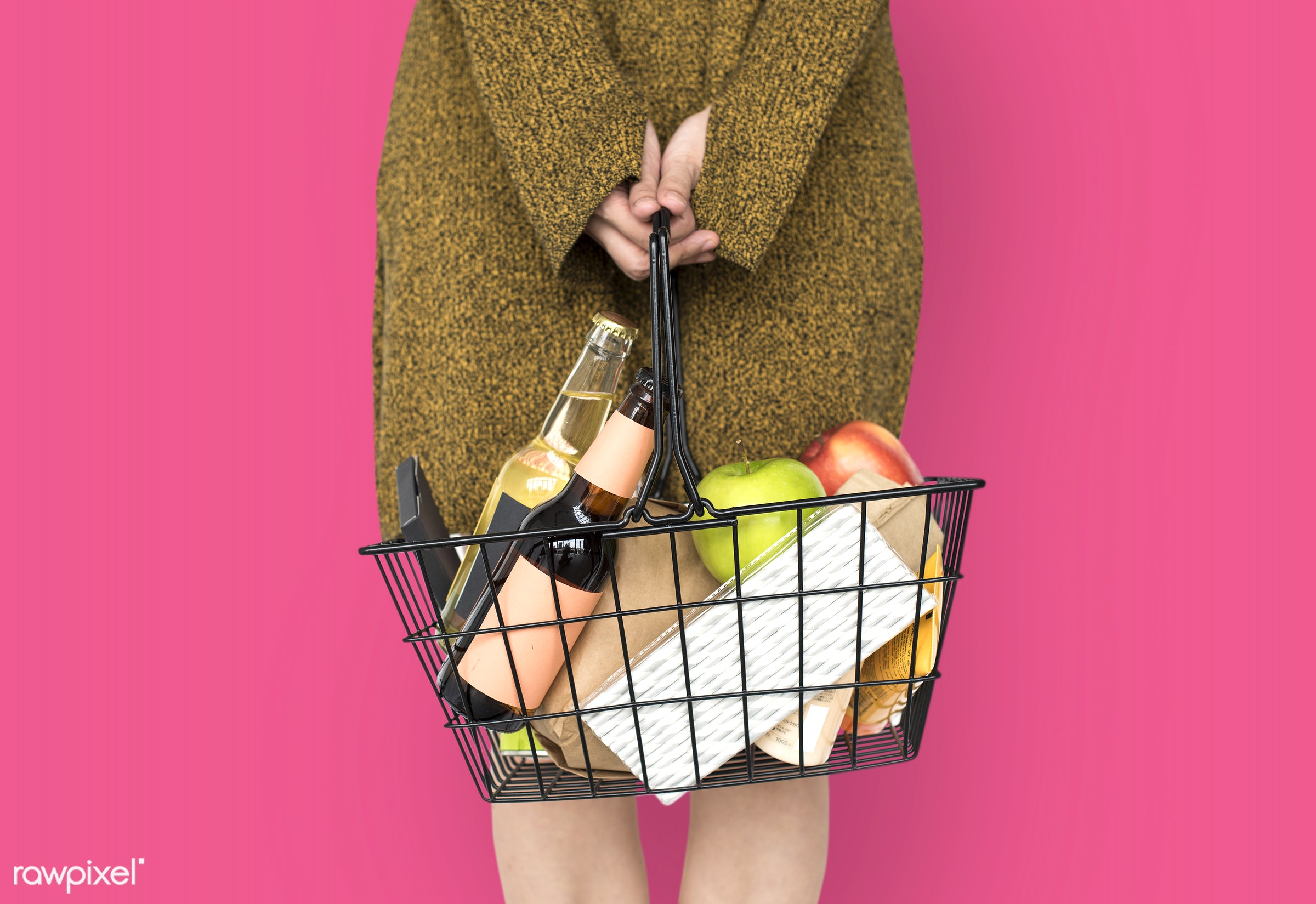 grocery, studio, person, goods, drinks, people, girl, carrying, solo, woman, casual, pink, wine, isolated, fruit, household...