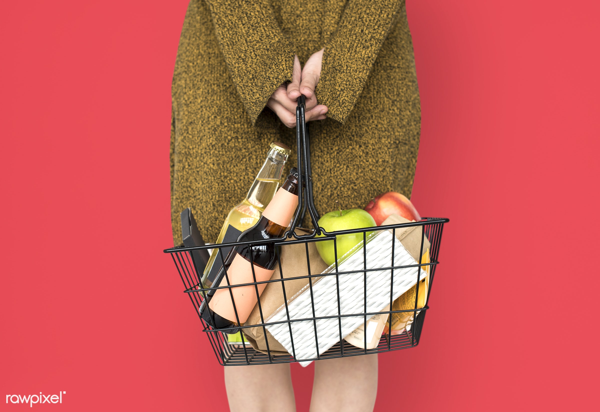 grocery, studio, person, goods, drinks, people, girl, carrying, solo, woman, casual, wine, isolated, fruit, household, adult...