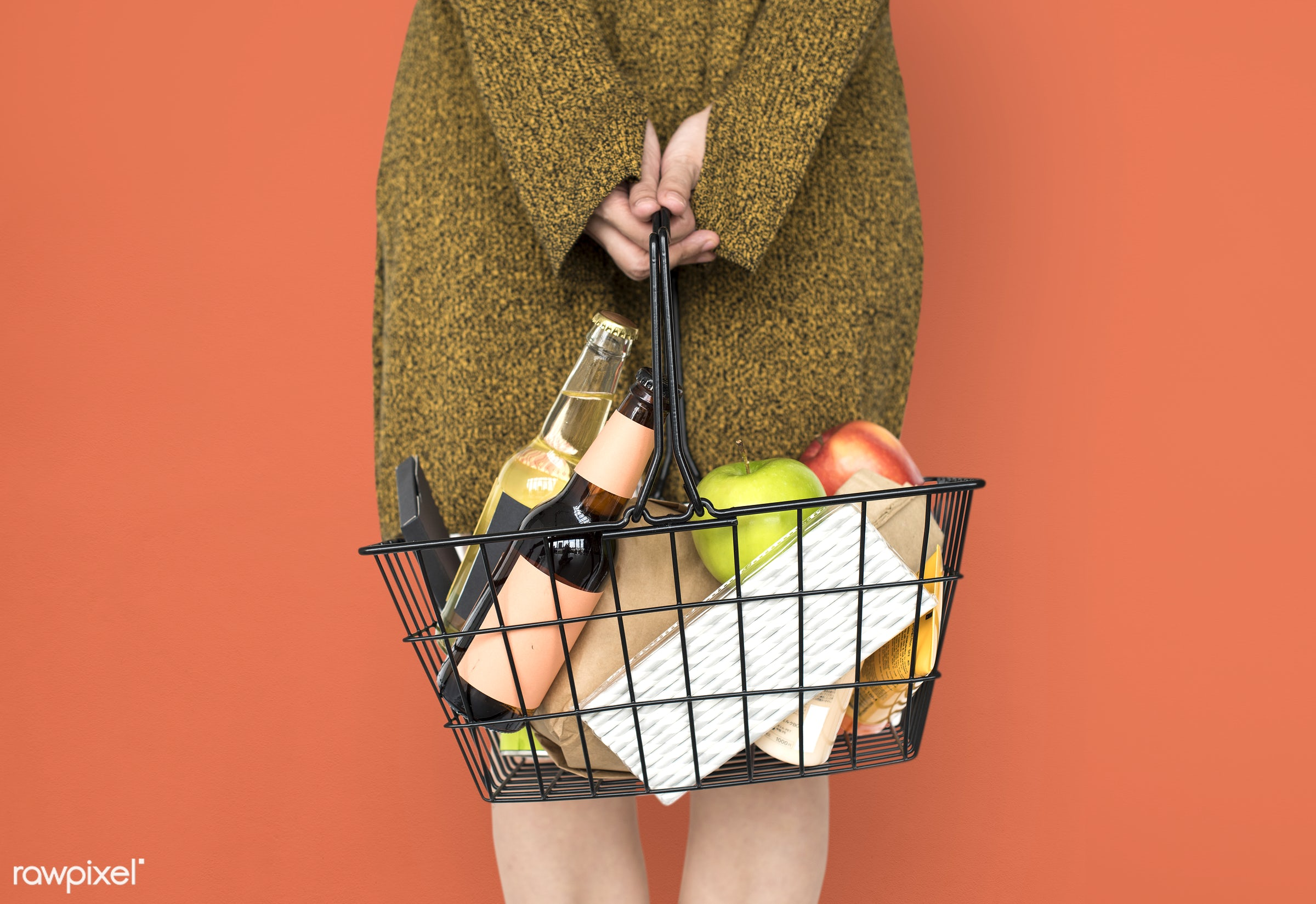 grocery, studio, person, goods, drinks, people, girl, carrying, solo, woman, casual, wine, orange, isolated, fruit,...
