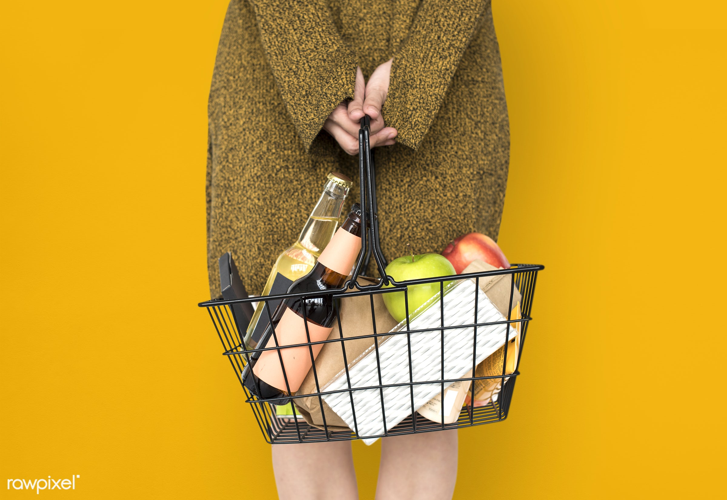 grocery, studio, person, goods, yellow, people, drinks, girl, carrying, solo, woman, casual, wine, isolated, fruit,...