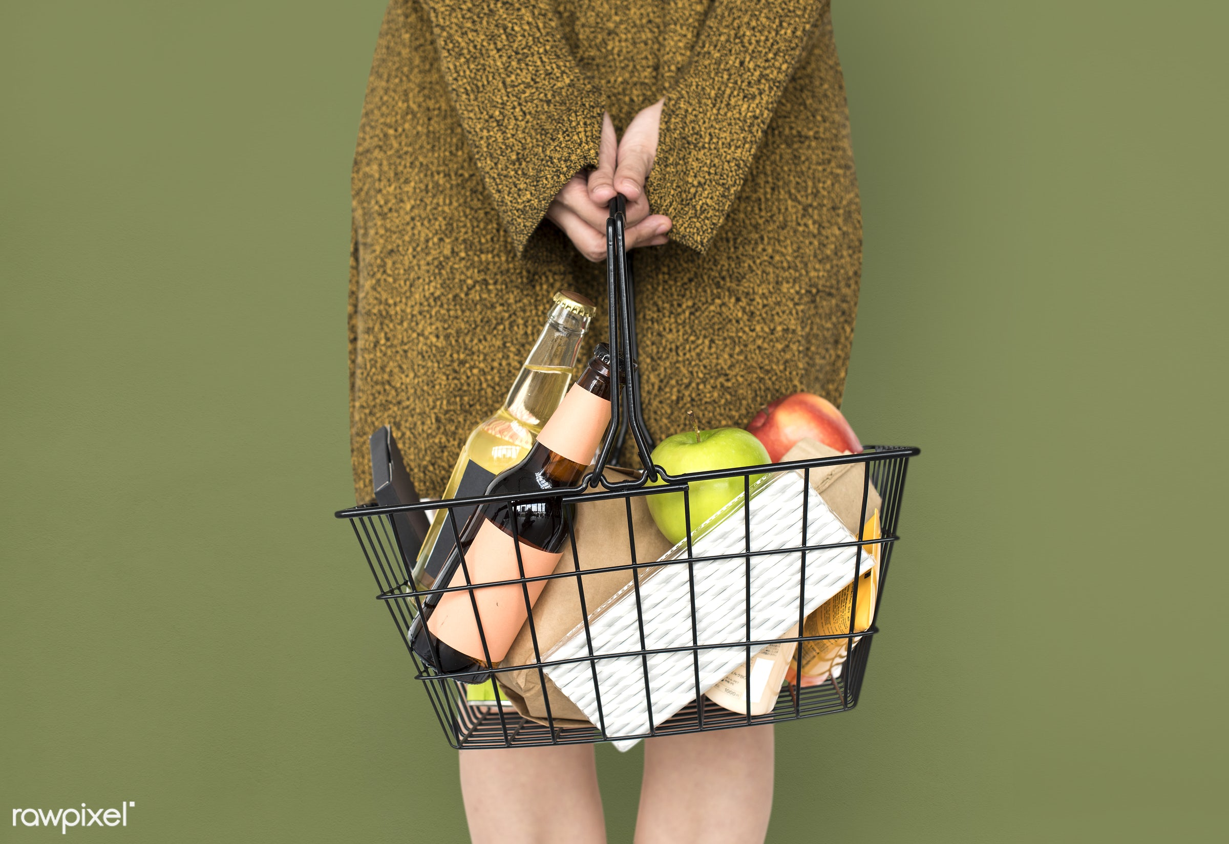 wine, adult, alcohol, apple, background, basket, beverage, carrying, casual, drinks, female, food, fruit, girl, goods, green...