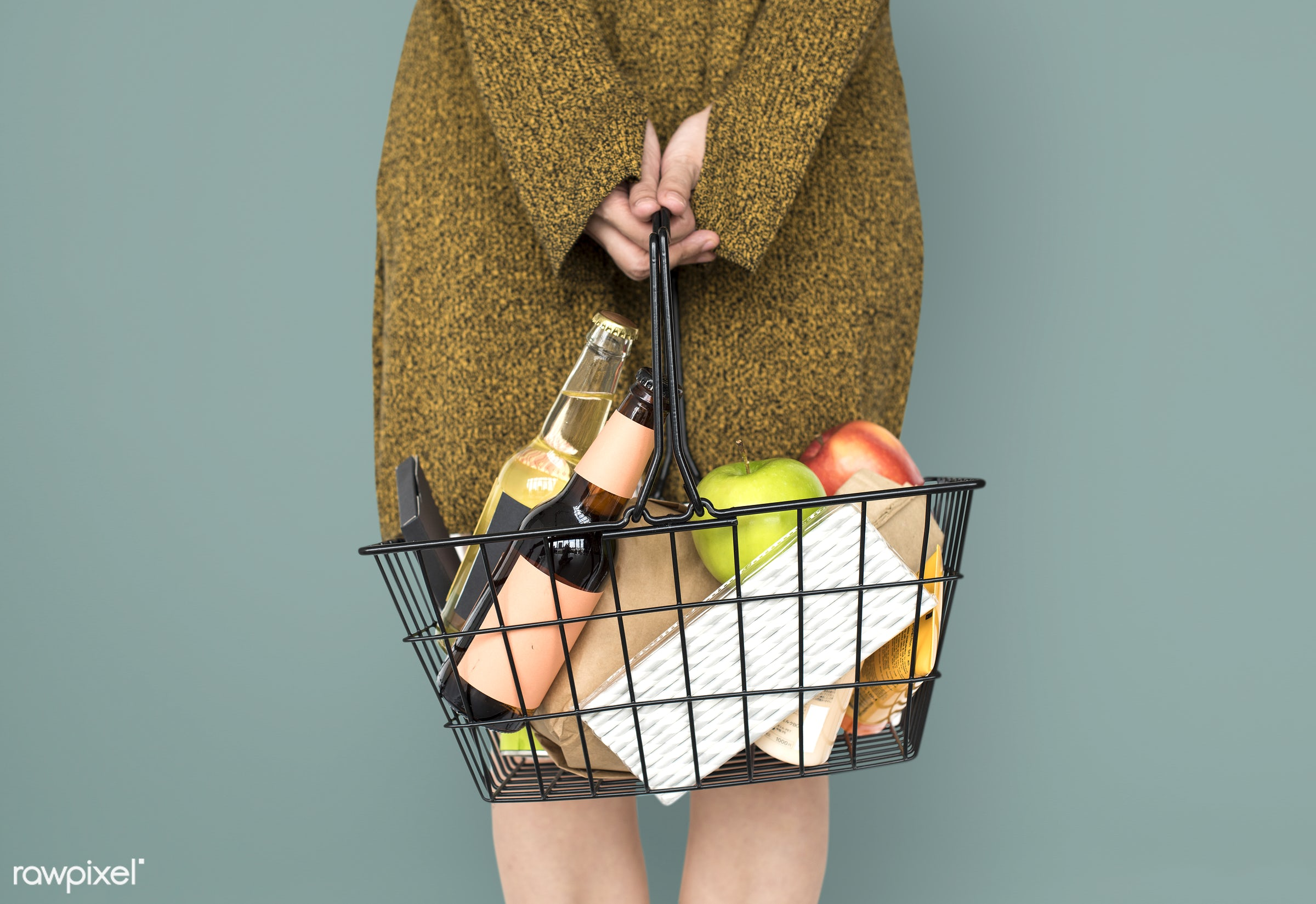 grocery, studio, person, goods, drinks, people, girl, carrying, solo, woman, casual, wine, isolated, fruit, household, green...