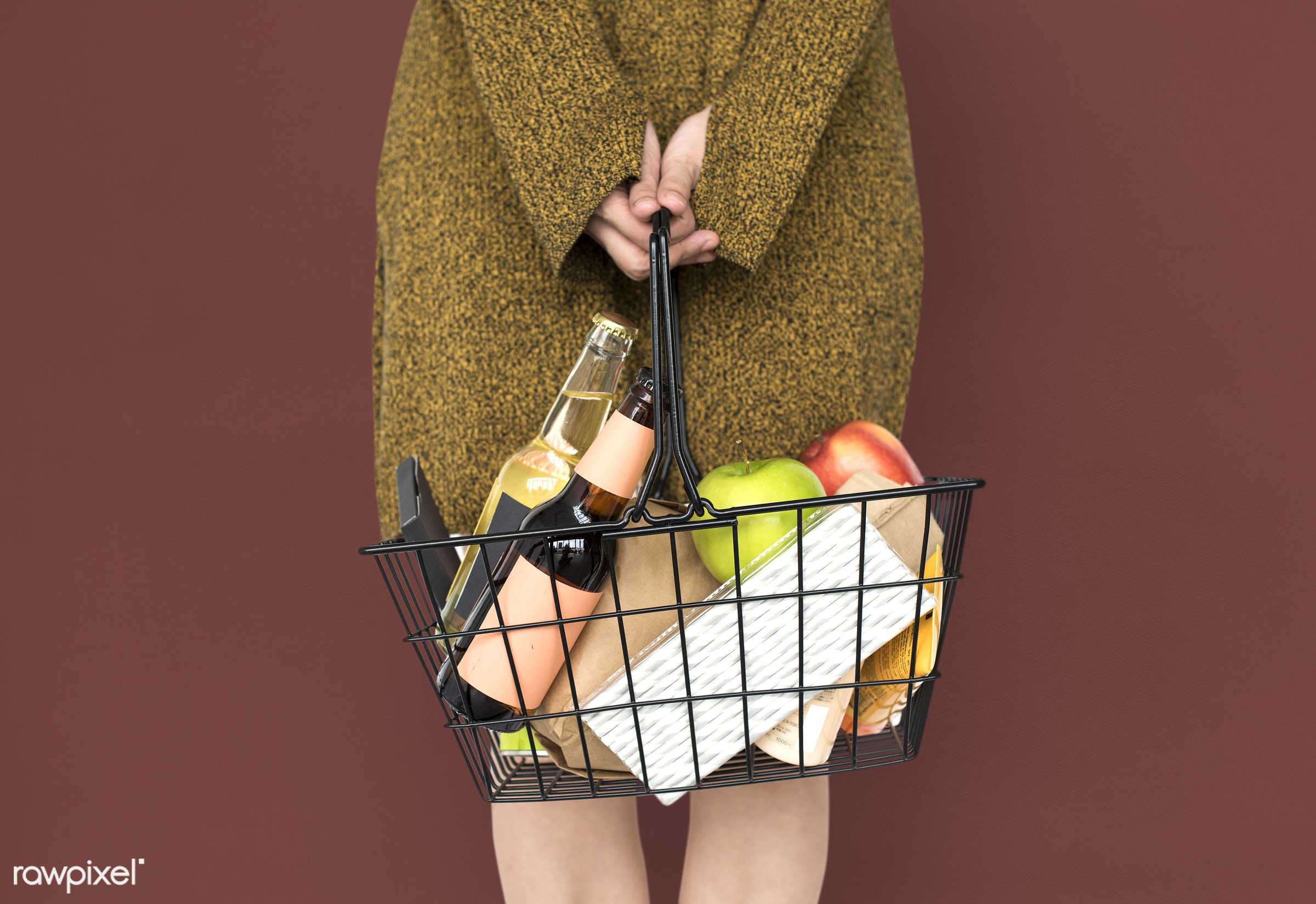 wine, adult, alcohol, apple, background, basket, beverage, brown, carrying, casual, drinks, female, food, fruit, girl, goods...
