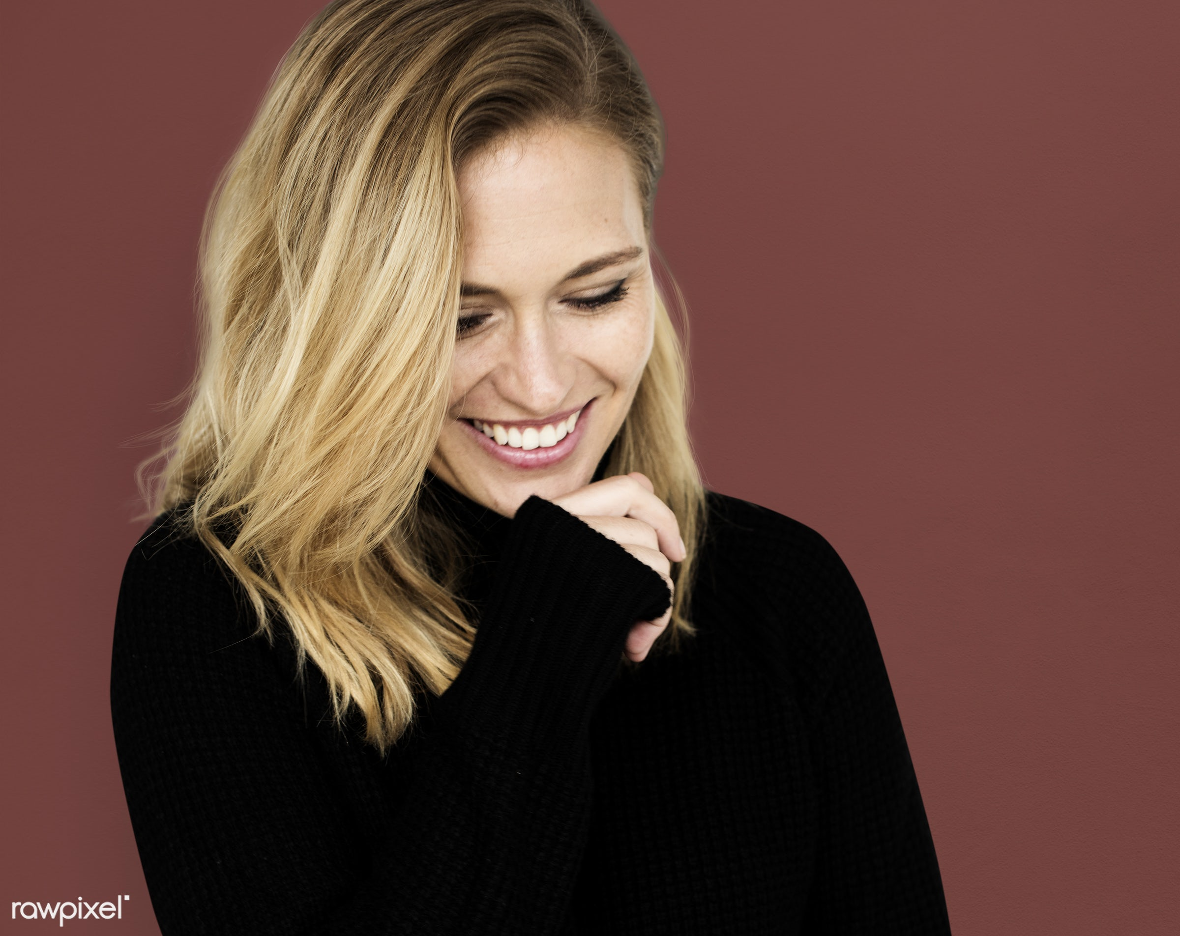 studio, expression, earth tone, pastel, person, people, caucasian, woman, lifestyle, smile, positive, cheerful, isolated,...