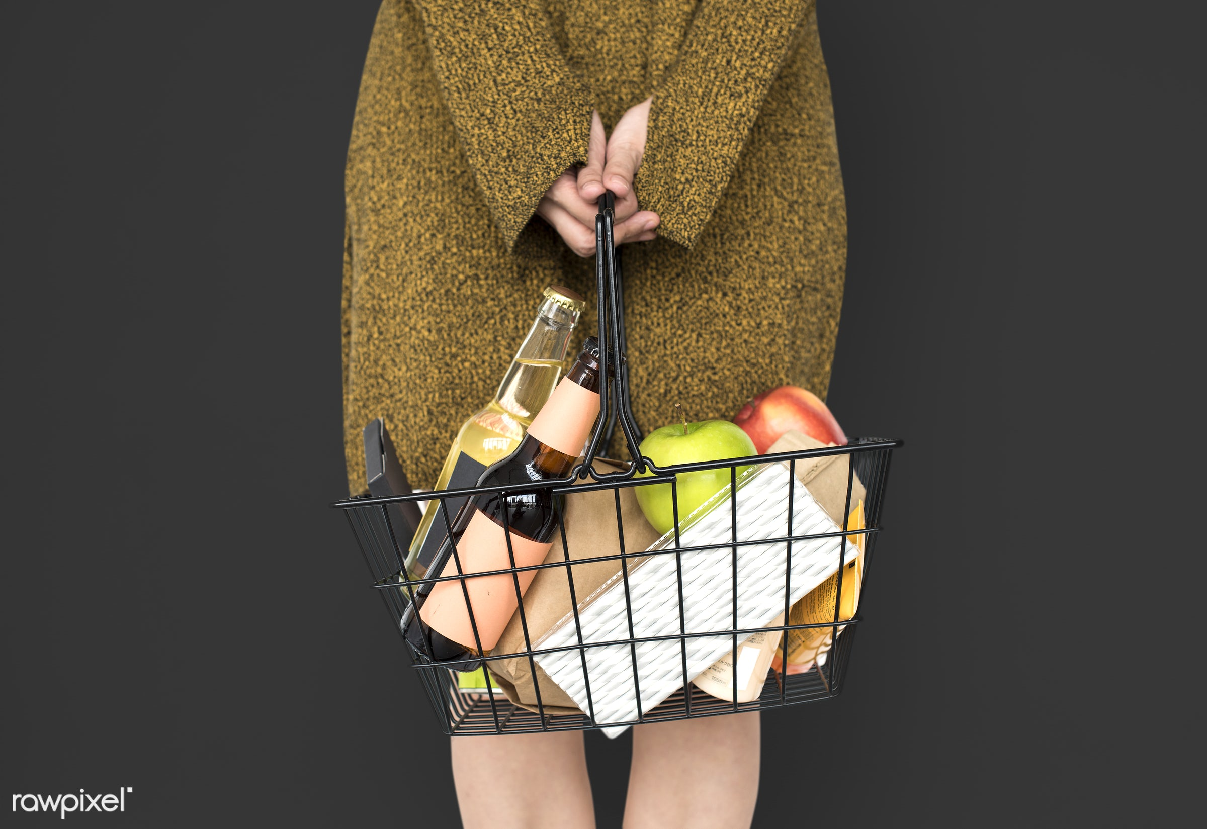 grocery, studio, person, goods, drinks, people, girl, carrying, solo, woman, casual, grey, wine, isolated, fruit, household...