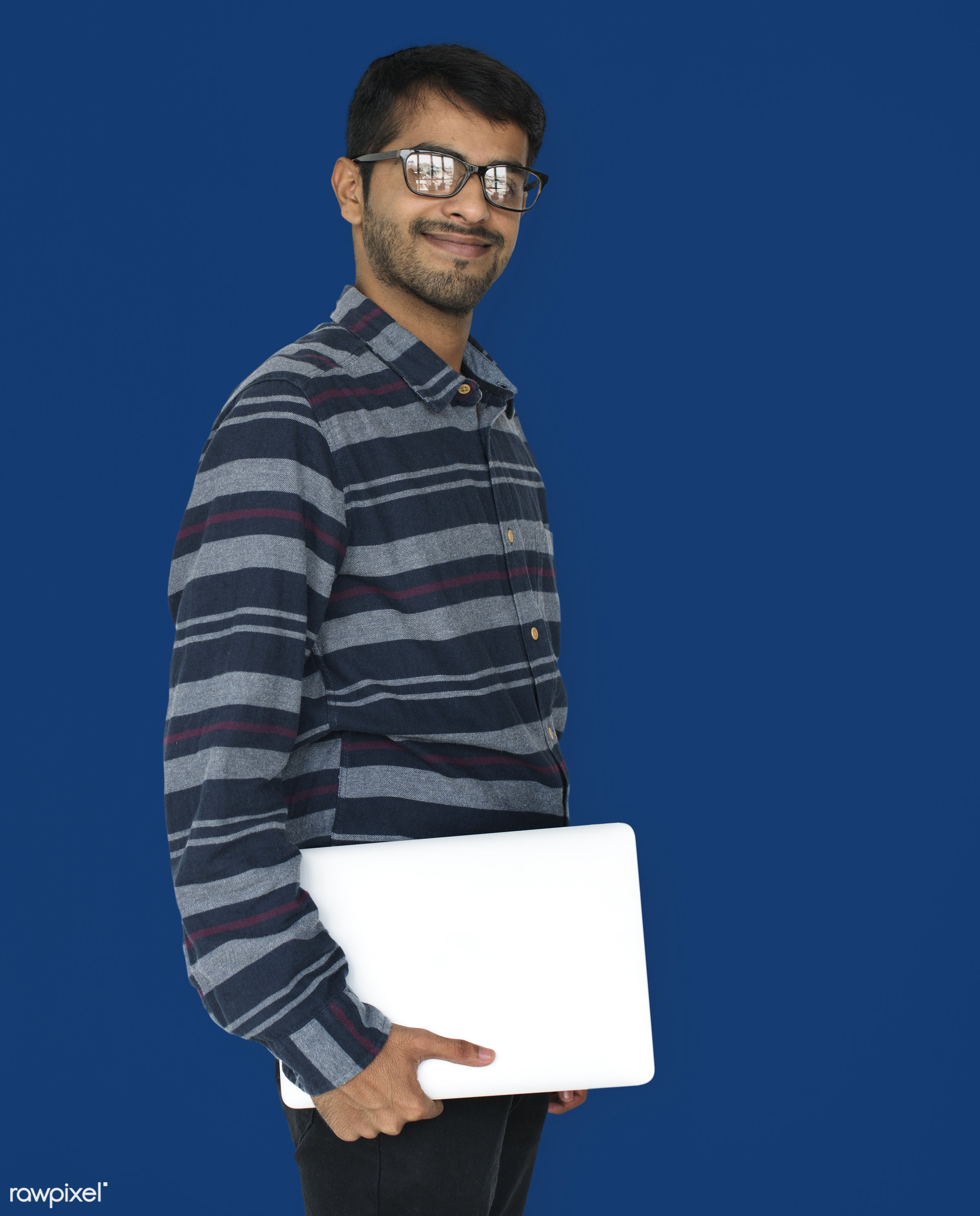 expression, studio, model, person, single, technology, holding, people, digital, asian, laptop, man, smiling, isolated,...