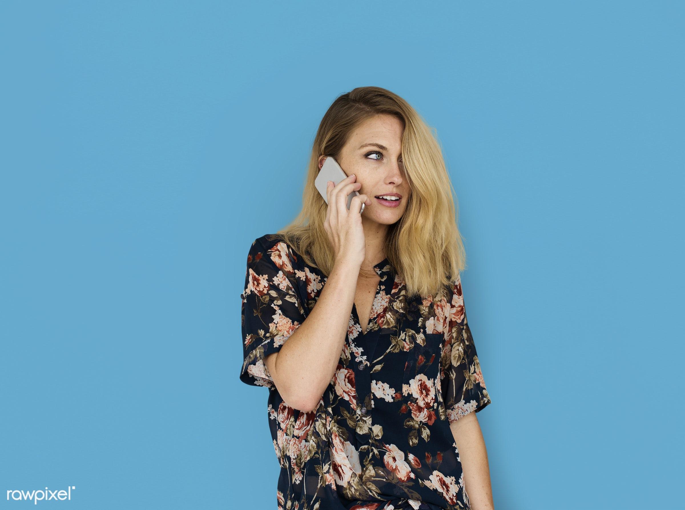 background, beauty, blue, brunette, casual, caucasian, charming, communication, connection, conversation, dealing,...