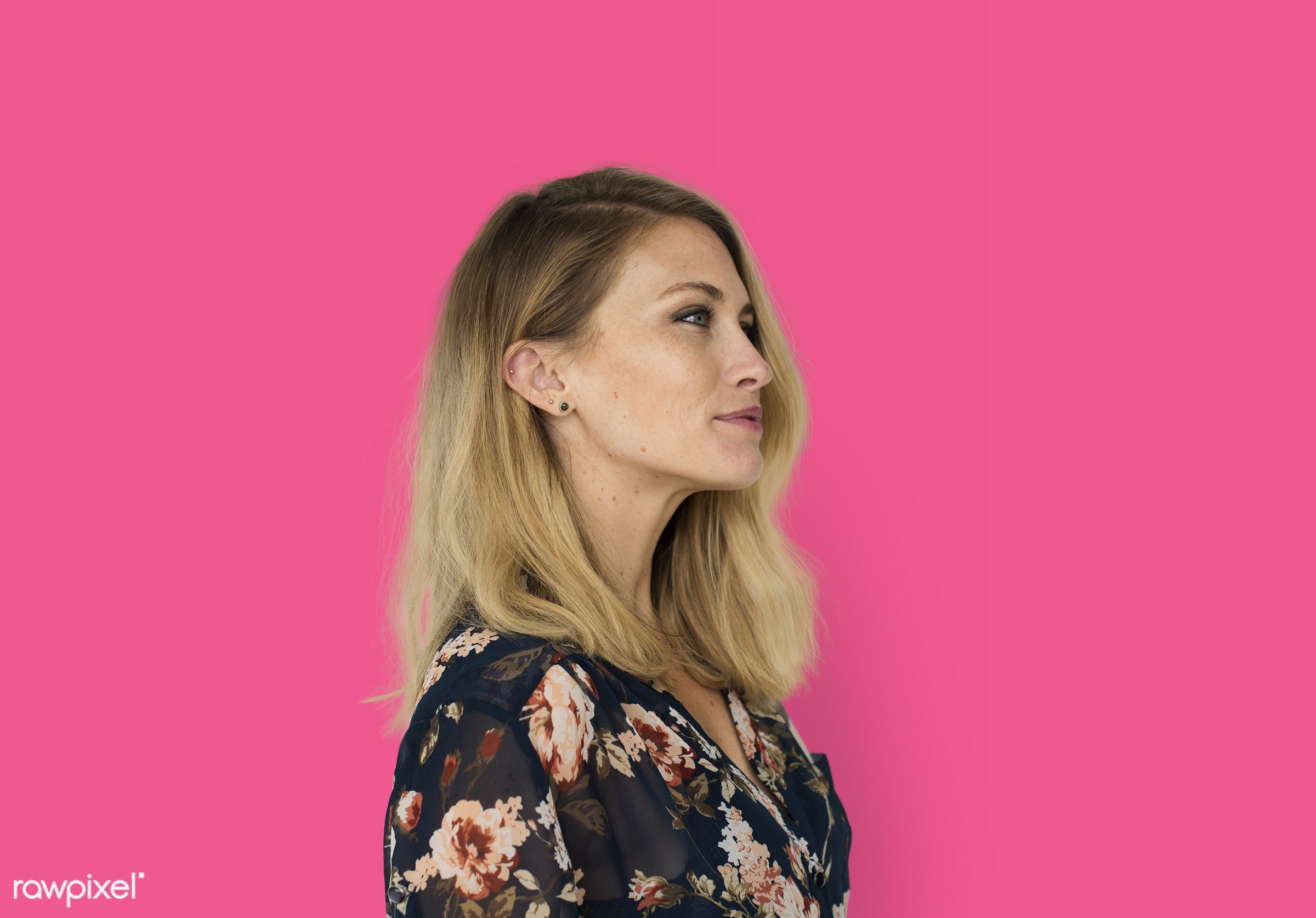 studio, expression, person, people, caucasian, woman, lifestyle, pink, positive, smile, cheerful, isolated, happiness,...