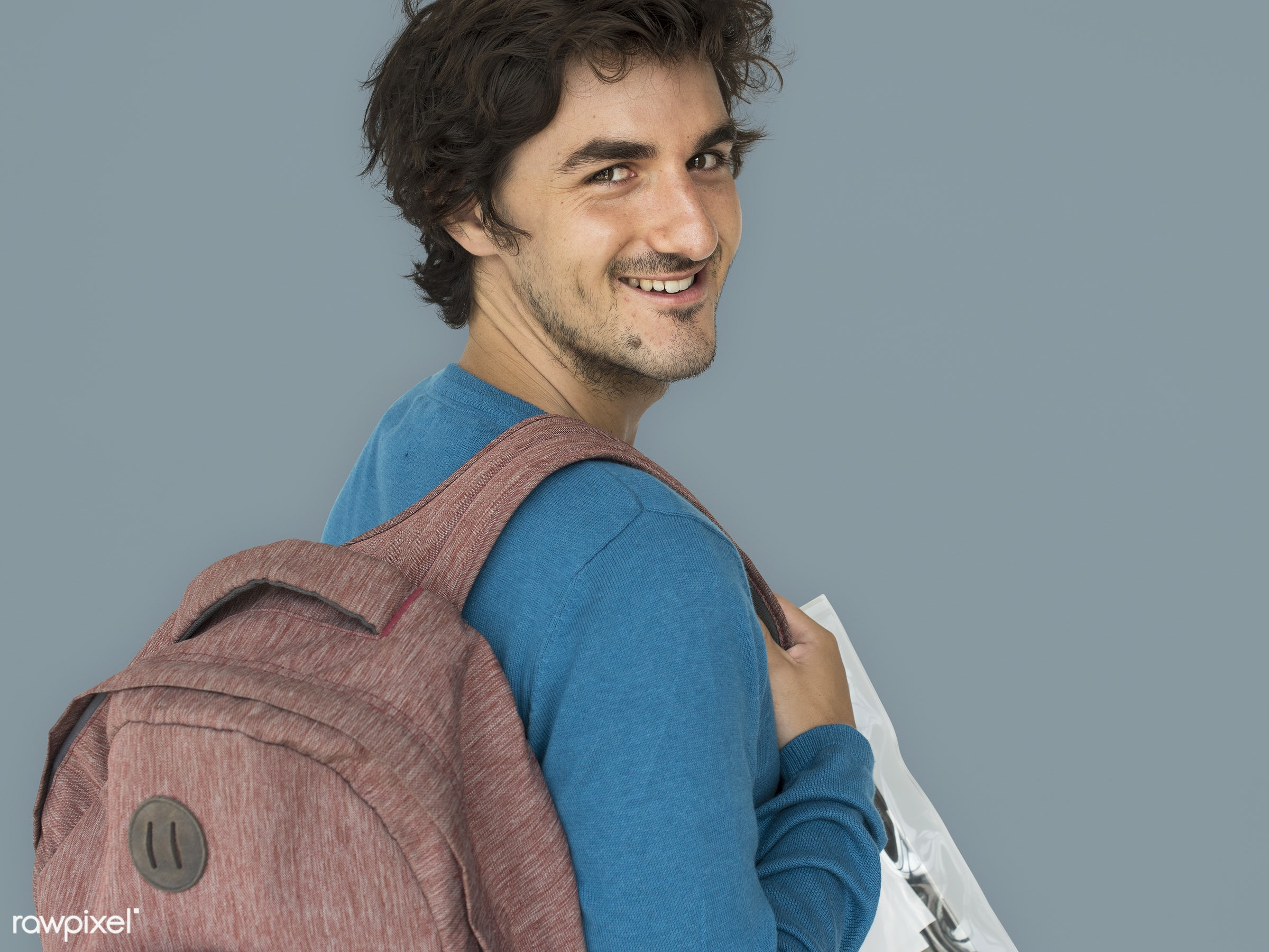 studio, expression, pastel, person, people, caucasian, lifestyle, schoolbag, positive, smile, cheerful, isolated, bag,...