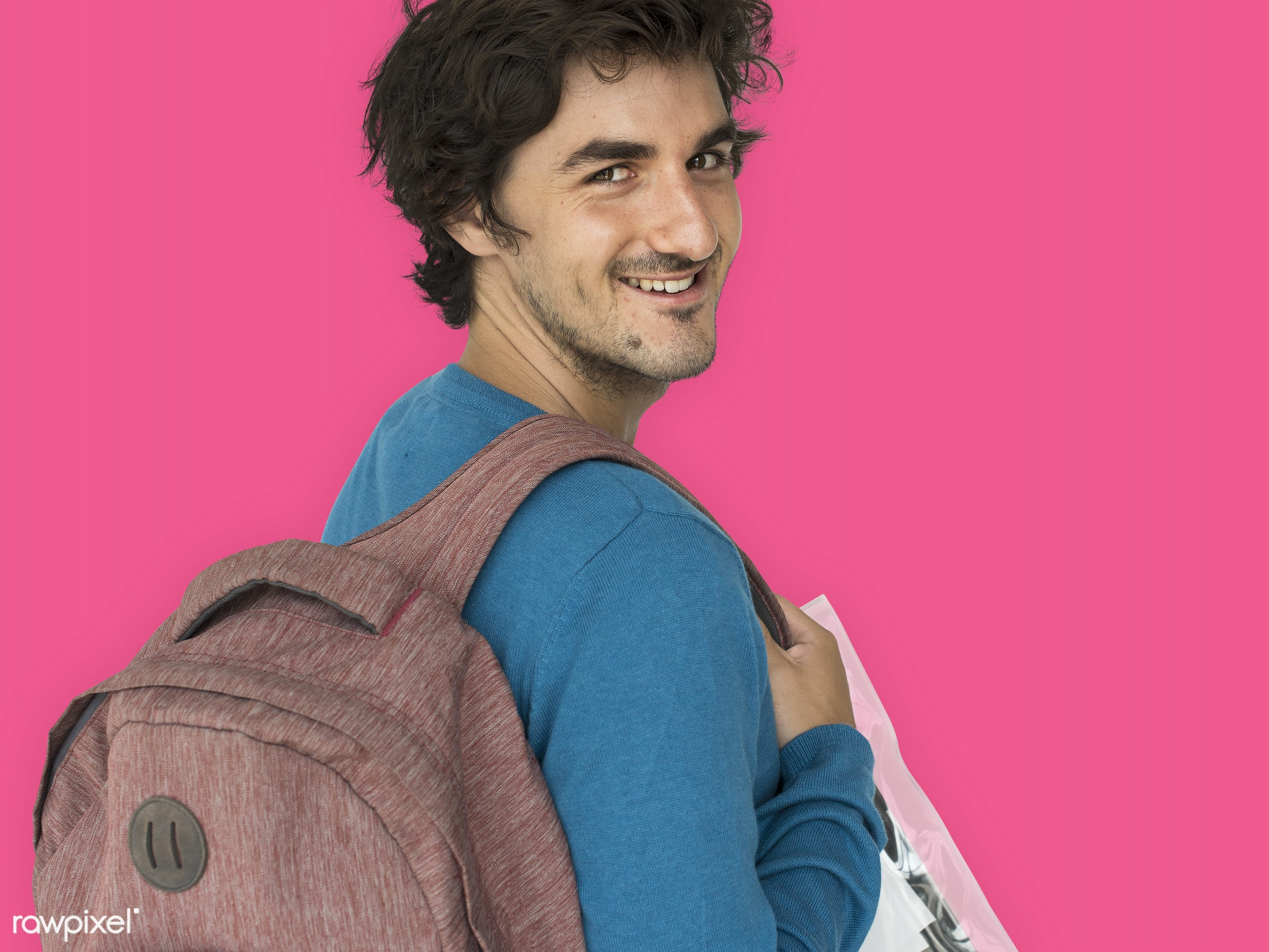 studio, expression, person, vibrant, people, caucasian, lifestyle, schoolbag, pink, smile, positive, cheerful, isolated, bag...