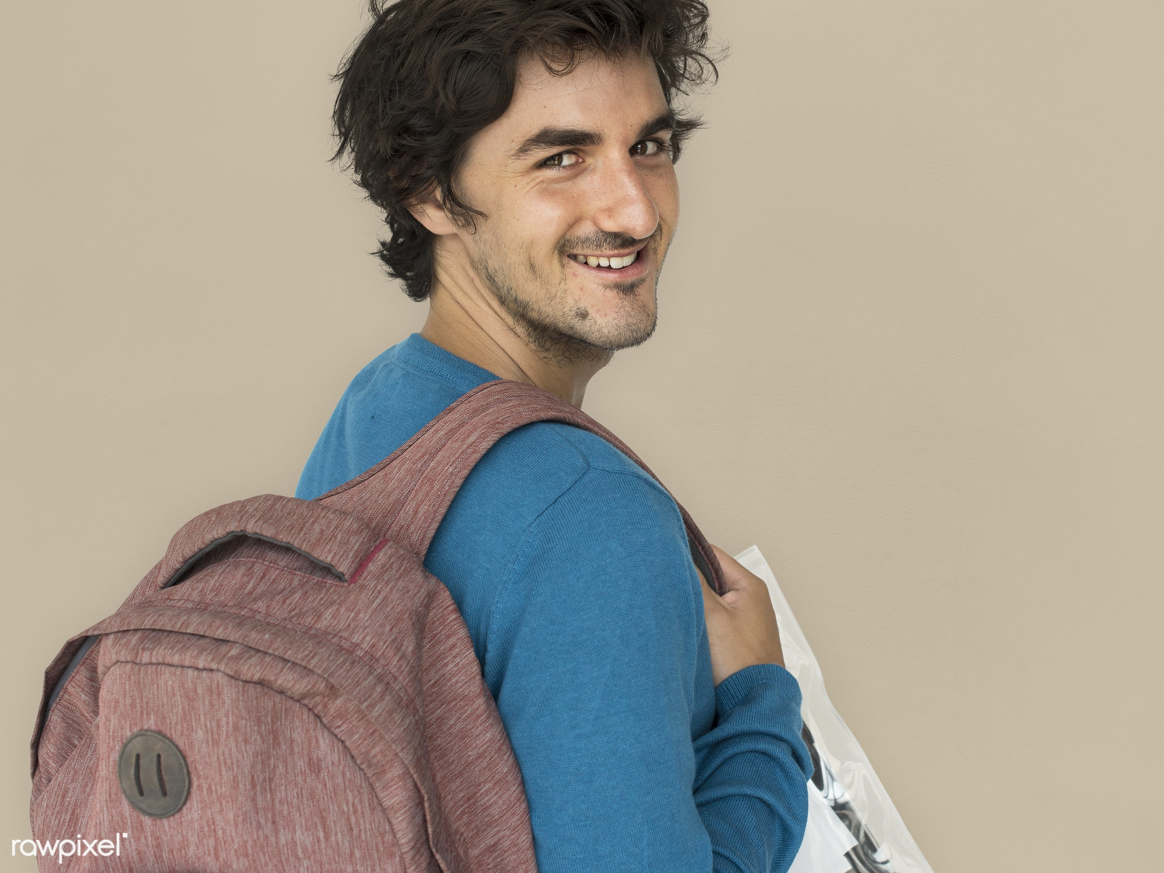 studio, expression, pastel, person, eart tones, people, caucasian, lifestyle, schoolbag, smile, positive, cheerful, isolated...