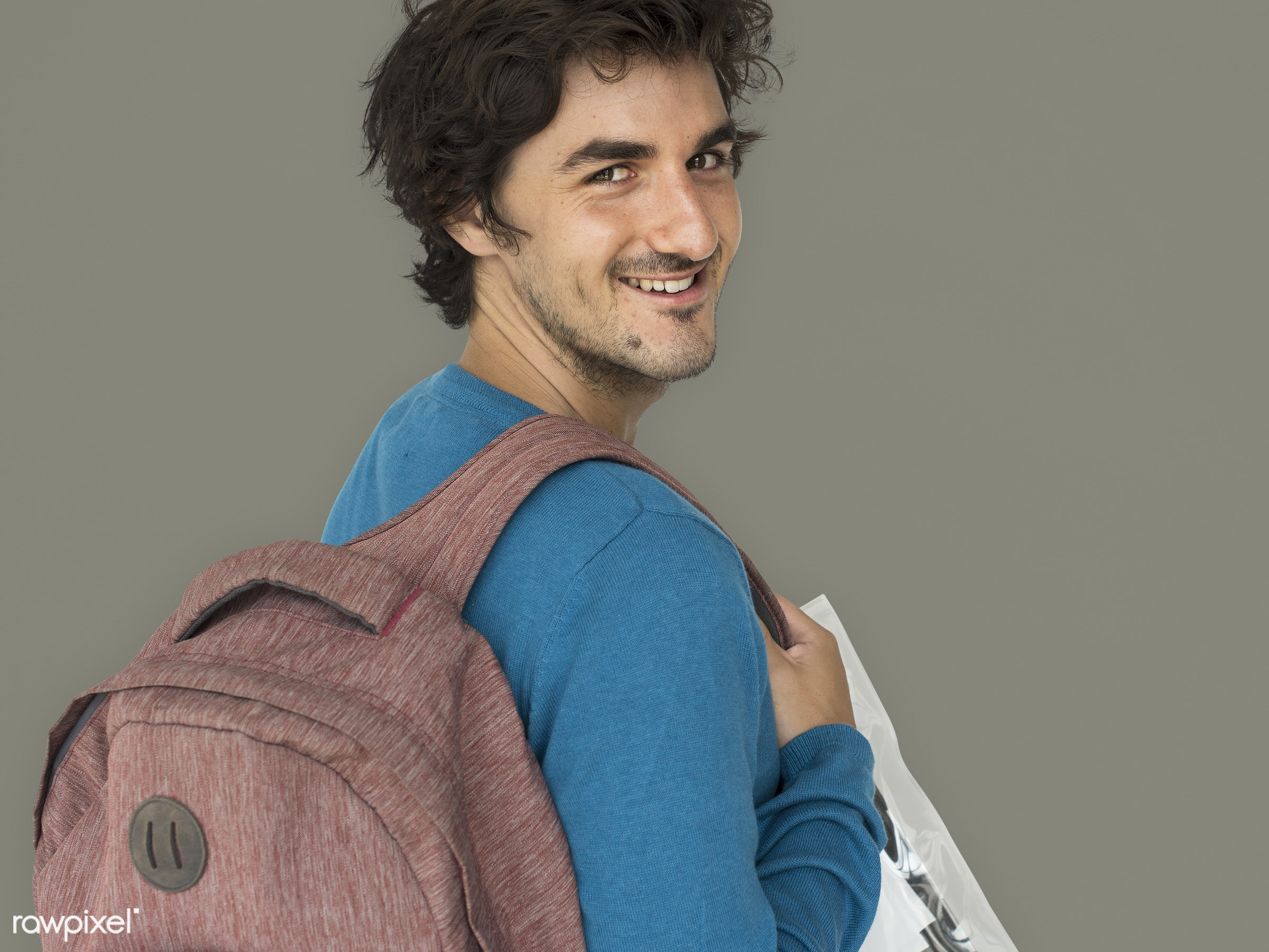 studio, expression, pastel, person, people, caucasian, lifestyle, schoolbag, positive, smile, cheerful, isolated, earth...