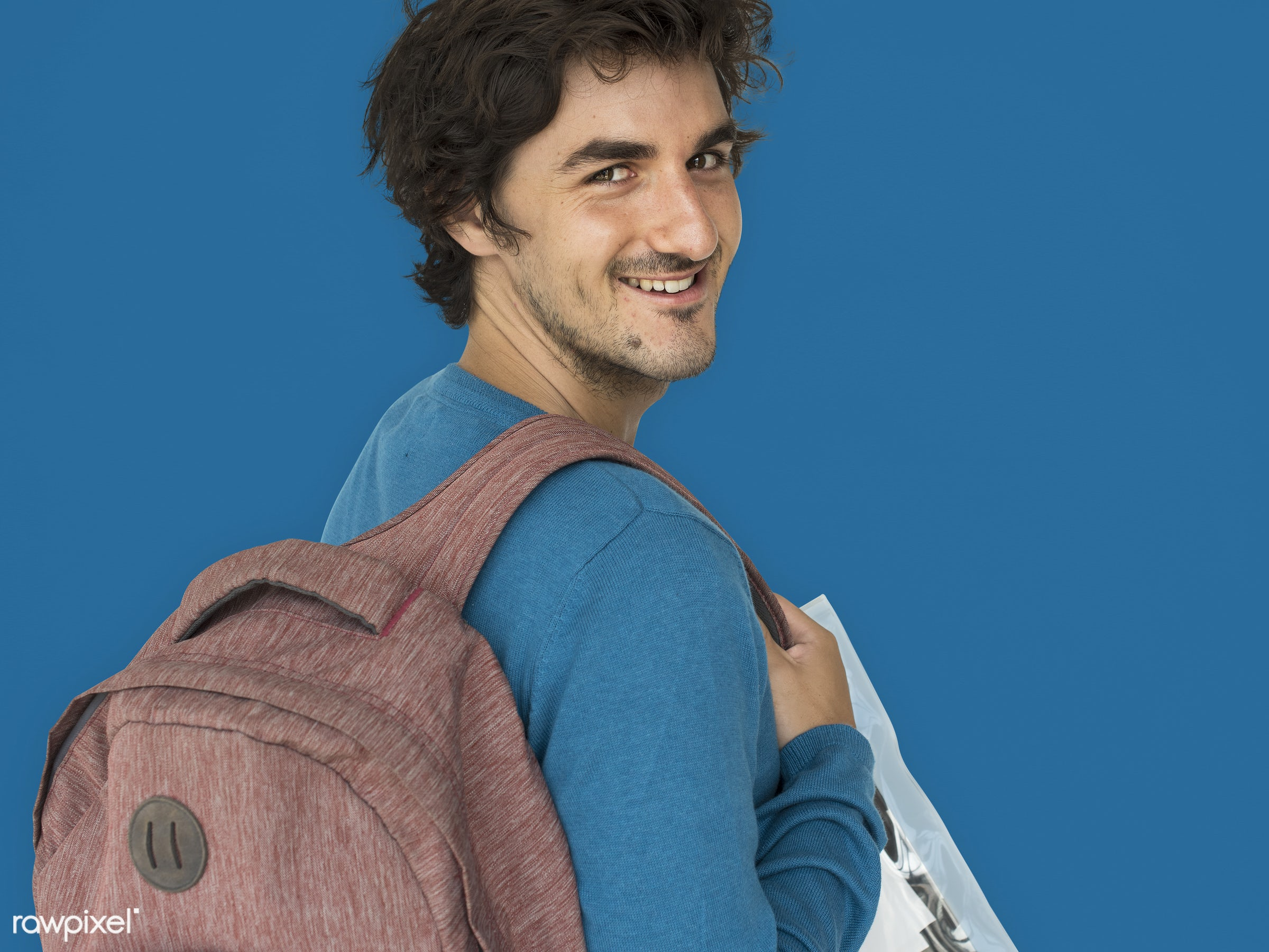 studio, expression, person, vibrant, people, caucasian, lifestyle, schoolbag, positive, smile, cheerful, isolated, bag,...