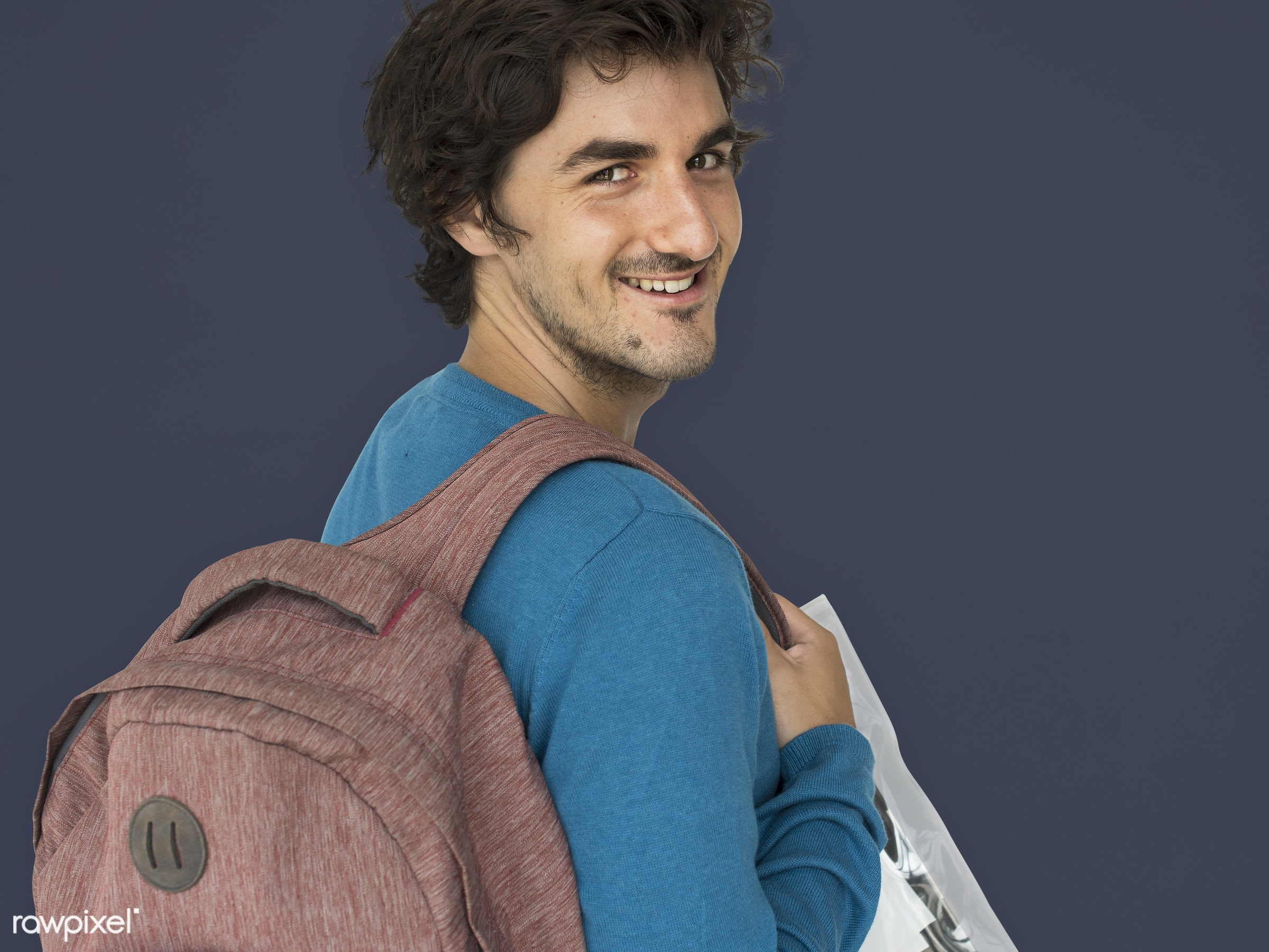 studio, expression, person, people, caucasian, lifestyle, schoolbag, smile, positive, cheerful, isolated, bag, happiness,...