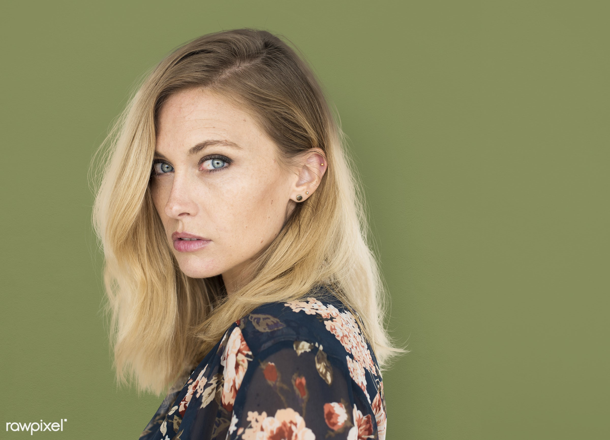 background, beauty, brunette, casual, caucasian, charming, emotion, expression, fashion, female, green, isolated, lady,...