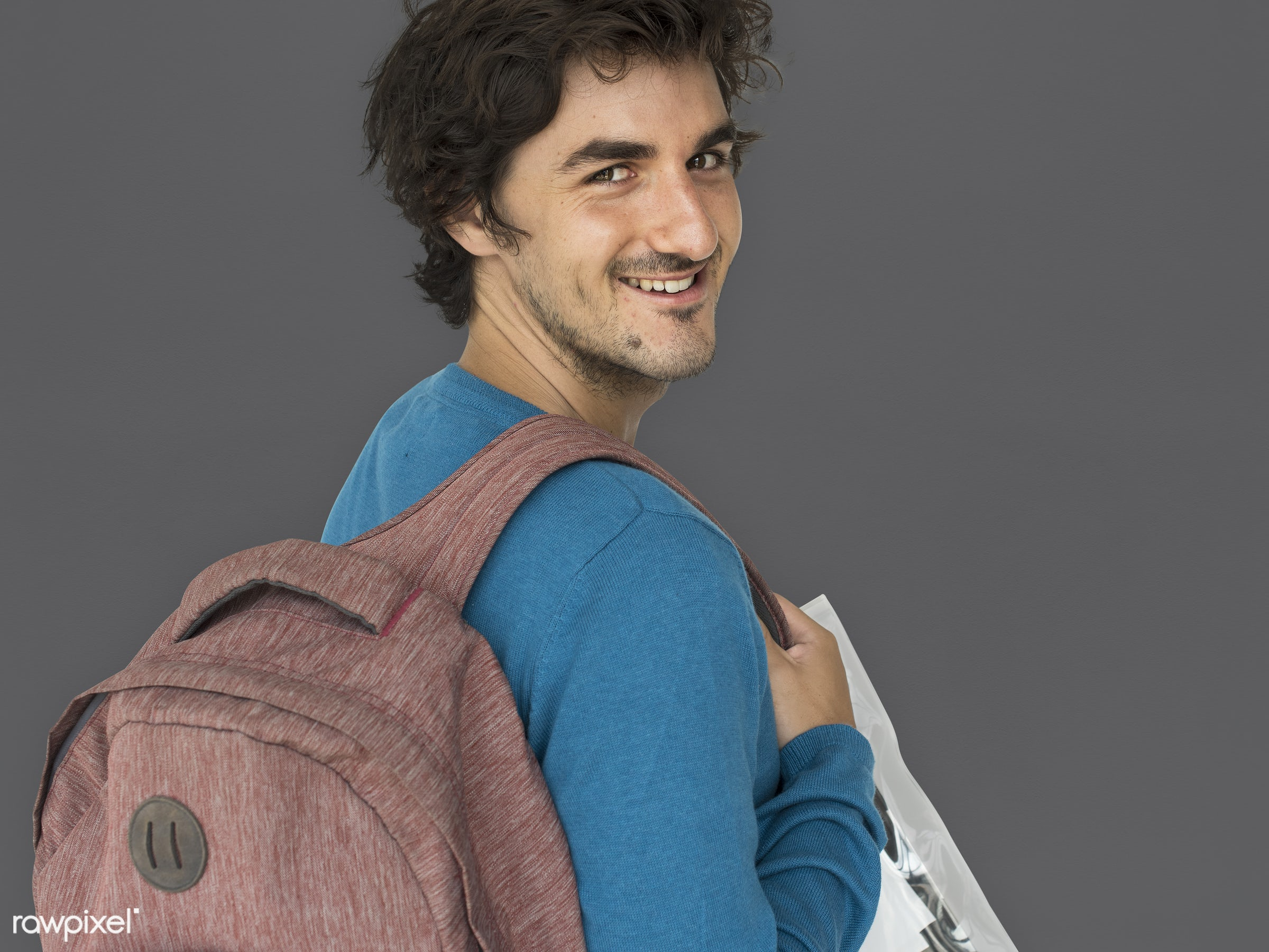 studio, expression, person, people, caucasian, lifestyle, schoolbag, smile, positive, cheerful, isolated, earth tones, bag,...