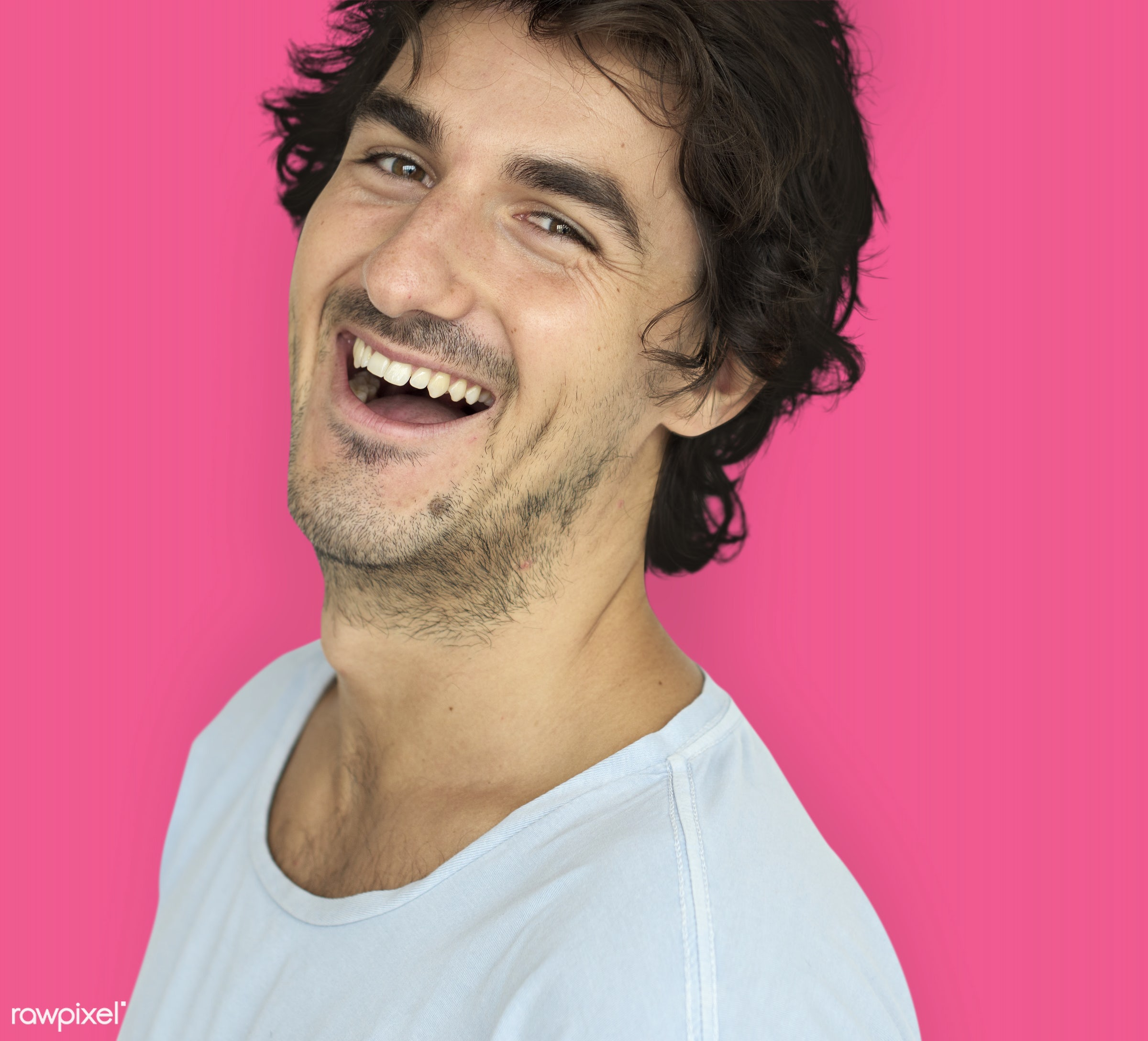studio, expression, person, people, caucasian, lifestyle, pink, smile, positive, cheerful, isolated, happiness, posing,...