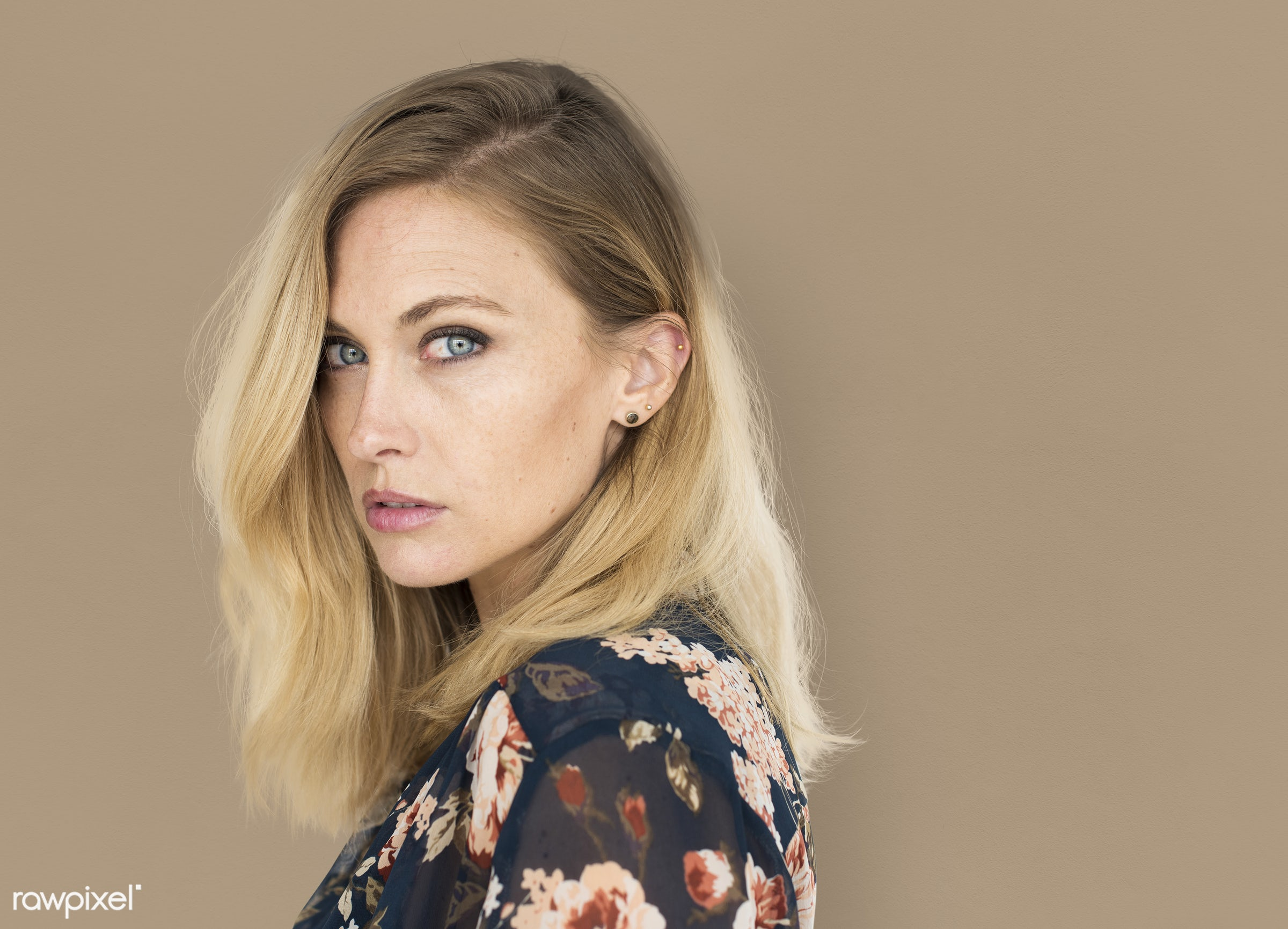 background, beauty, brown, brunette, casual, caucasian, charming, emotion, expression, fashion, female, isolated, lady,...