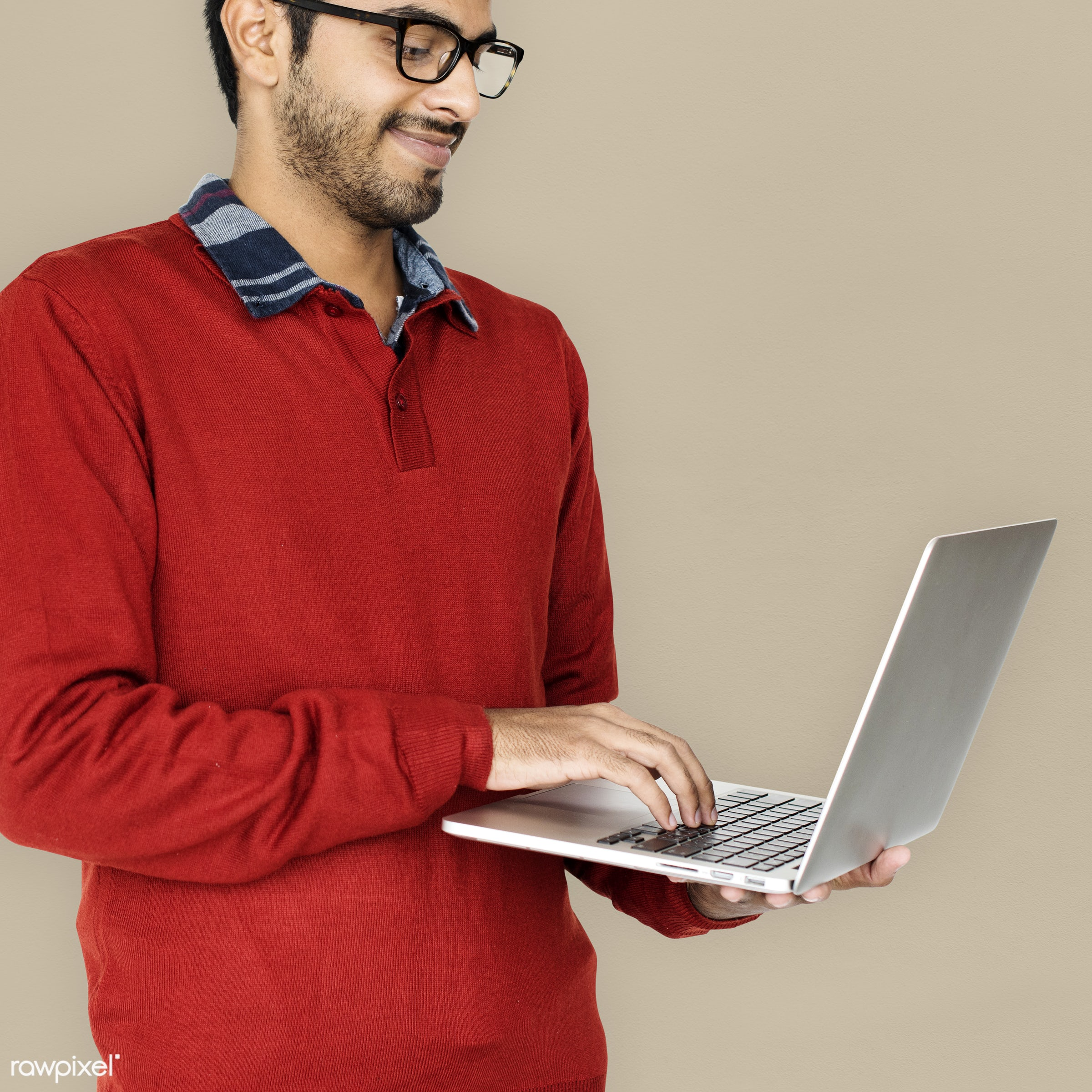 studio, expression, pastel, person, technology, holding, eart tones, people, asian, lifestyle, laptop, positive, smile,...